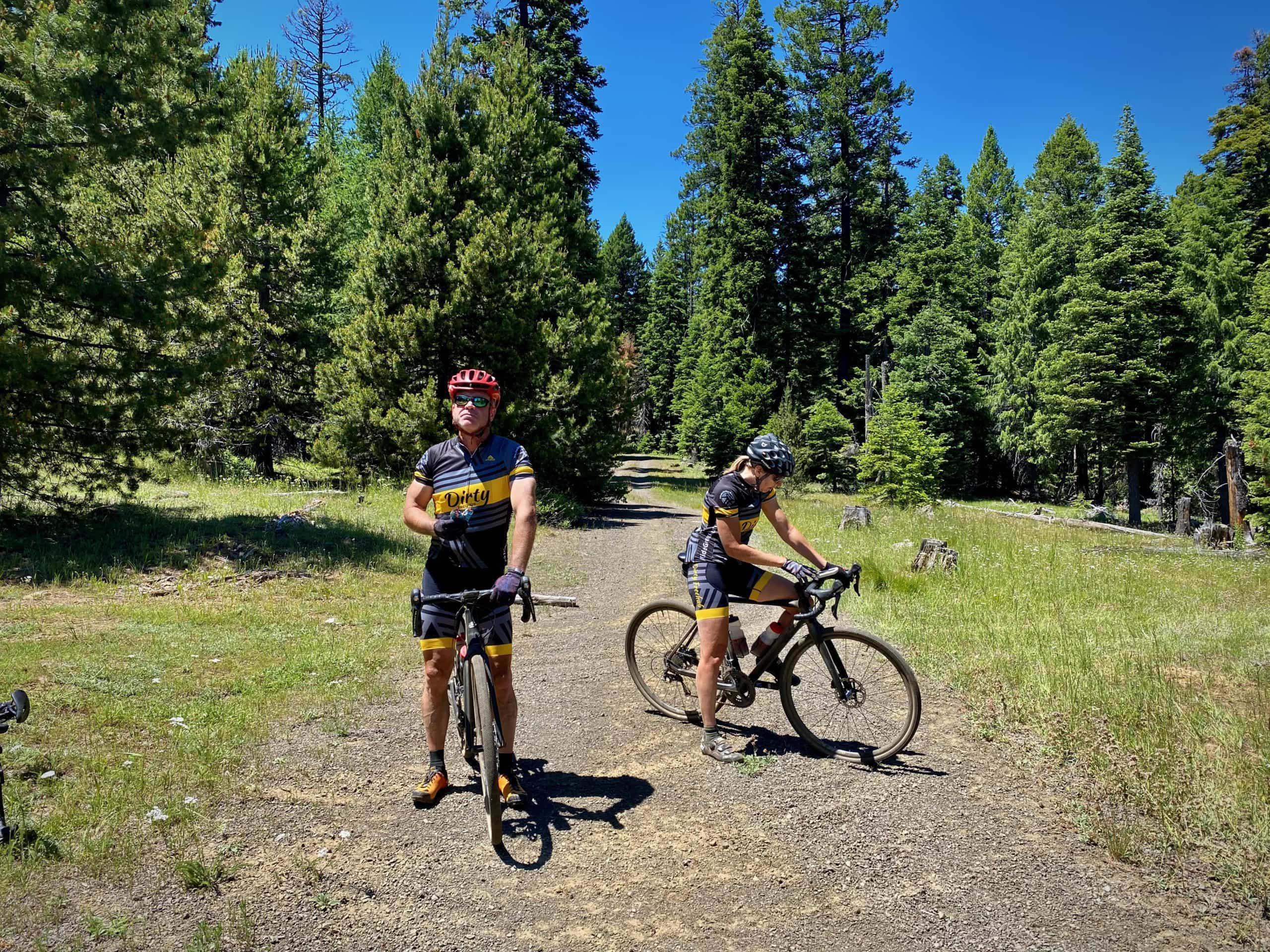Two Dirty Freehub team members taking a break on a gravel ride.