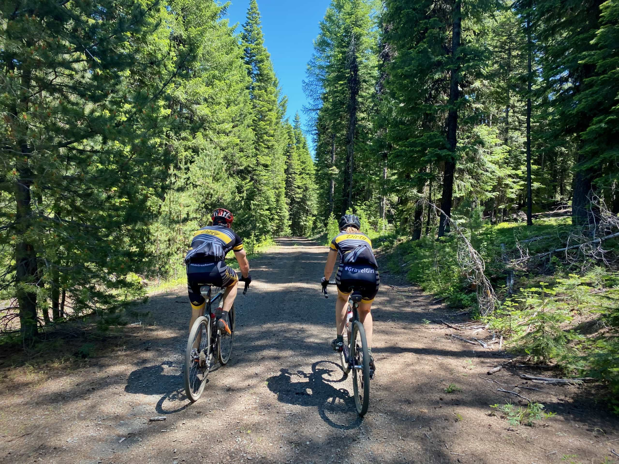 Gravel cyclists on a flowy dirt road in the Ochoco Mountains.