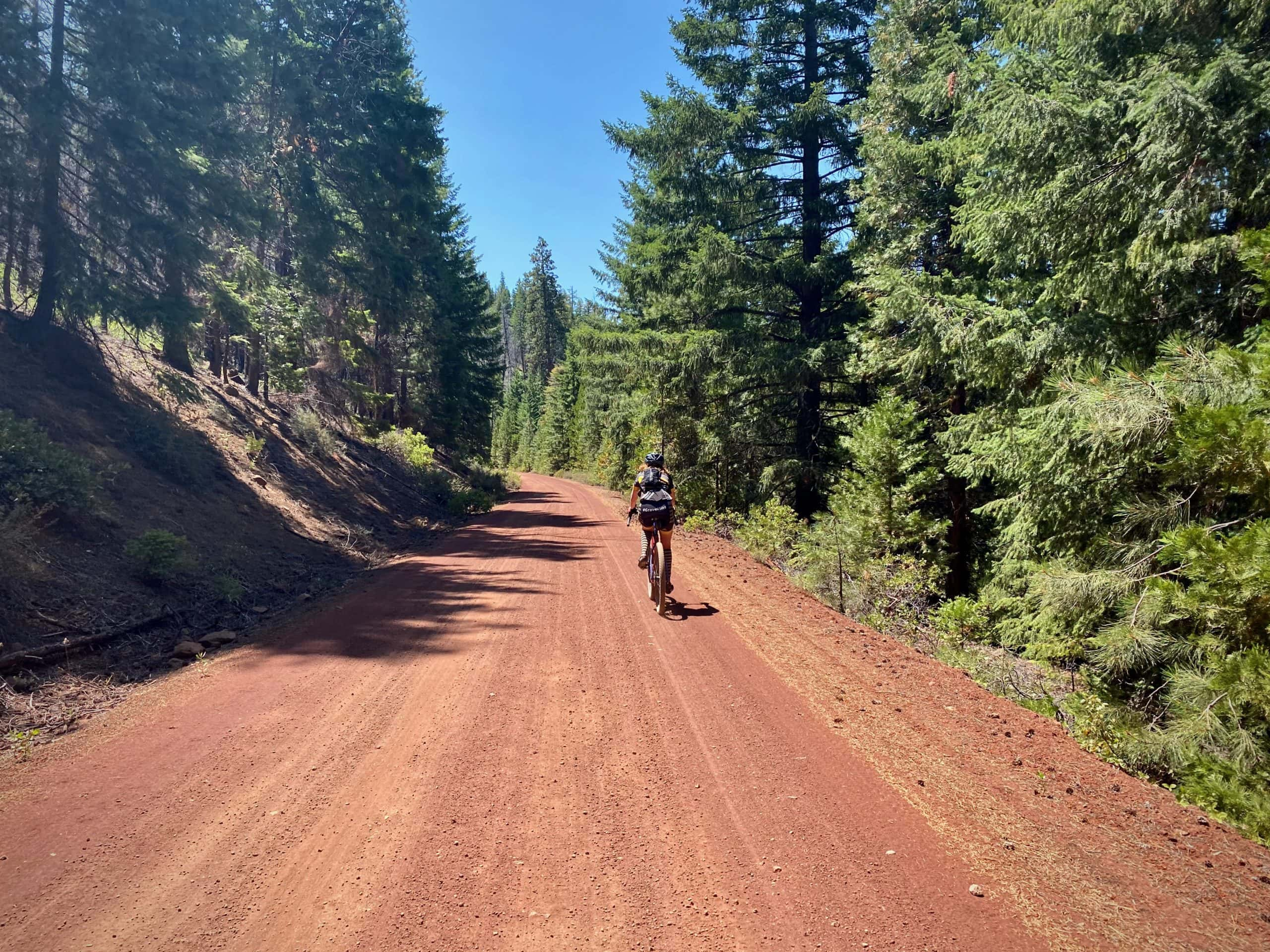 The lower portion of the road leading to Green Ridge lookout is red cinder, with gravel cyclist riding it.