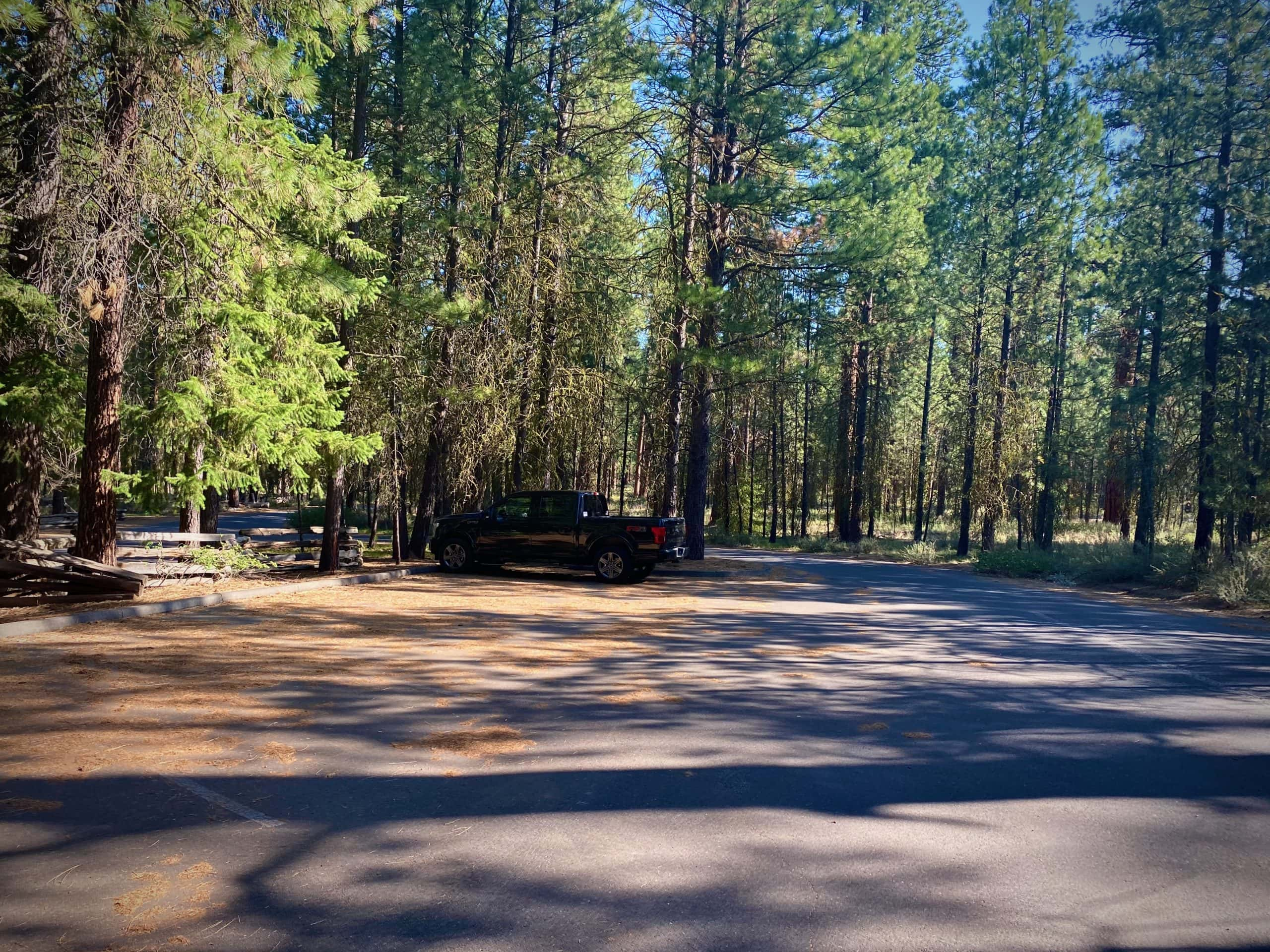 The parking area for the Head of the Metolius viewpoint near Camp Sherman, OR.