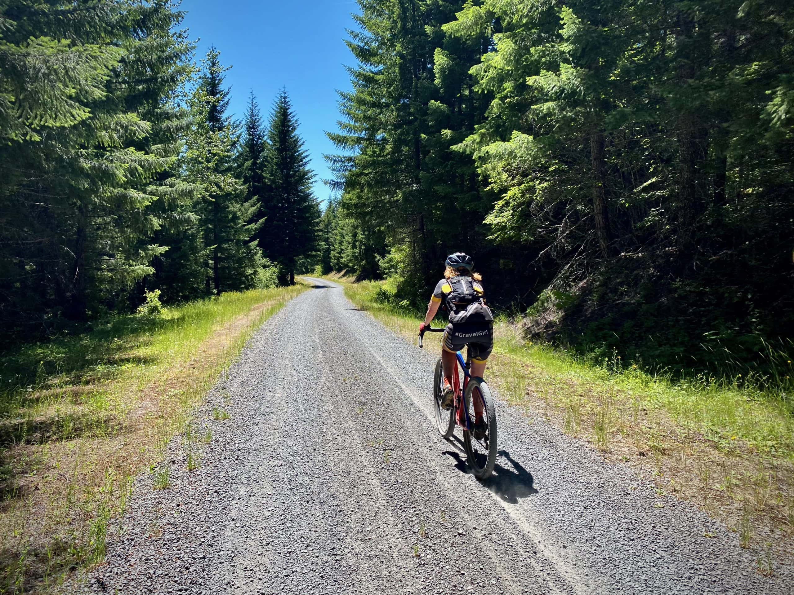 Cyclist on hard packed gravel road near Swift Creek in the Willamette National Forest.