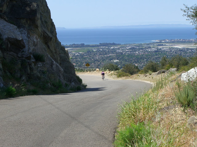 Cyclists descending Old San Marcos road in California.