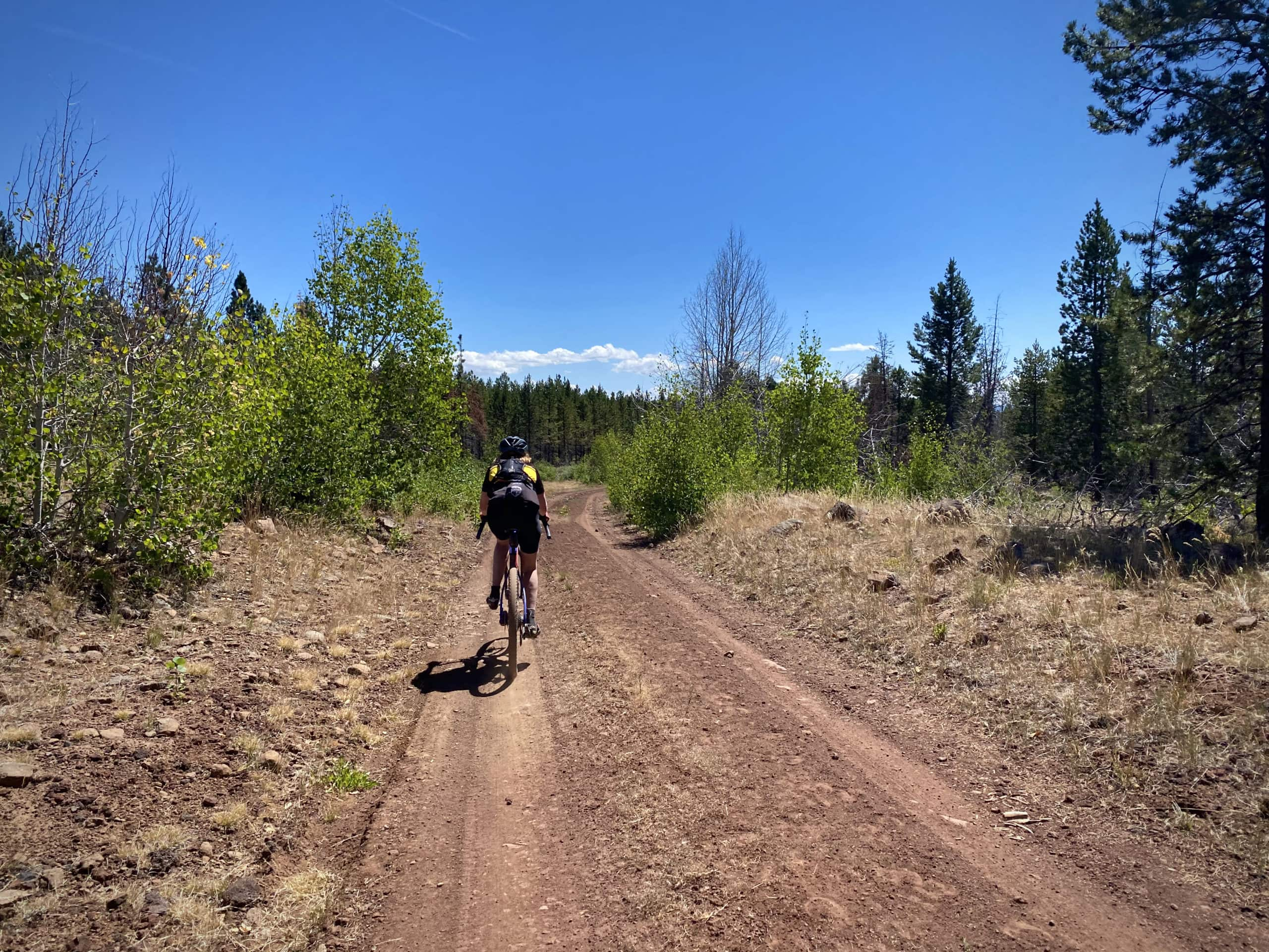 Cyclist on red gravel road near Coffee Pot creek in the Fremont National Forest.