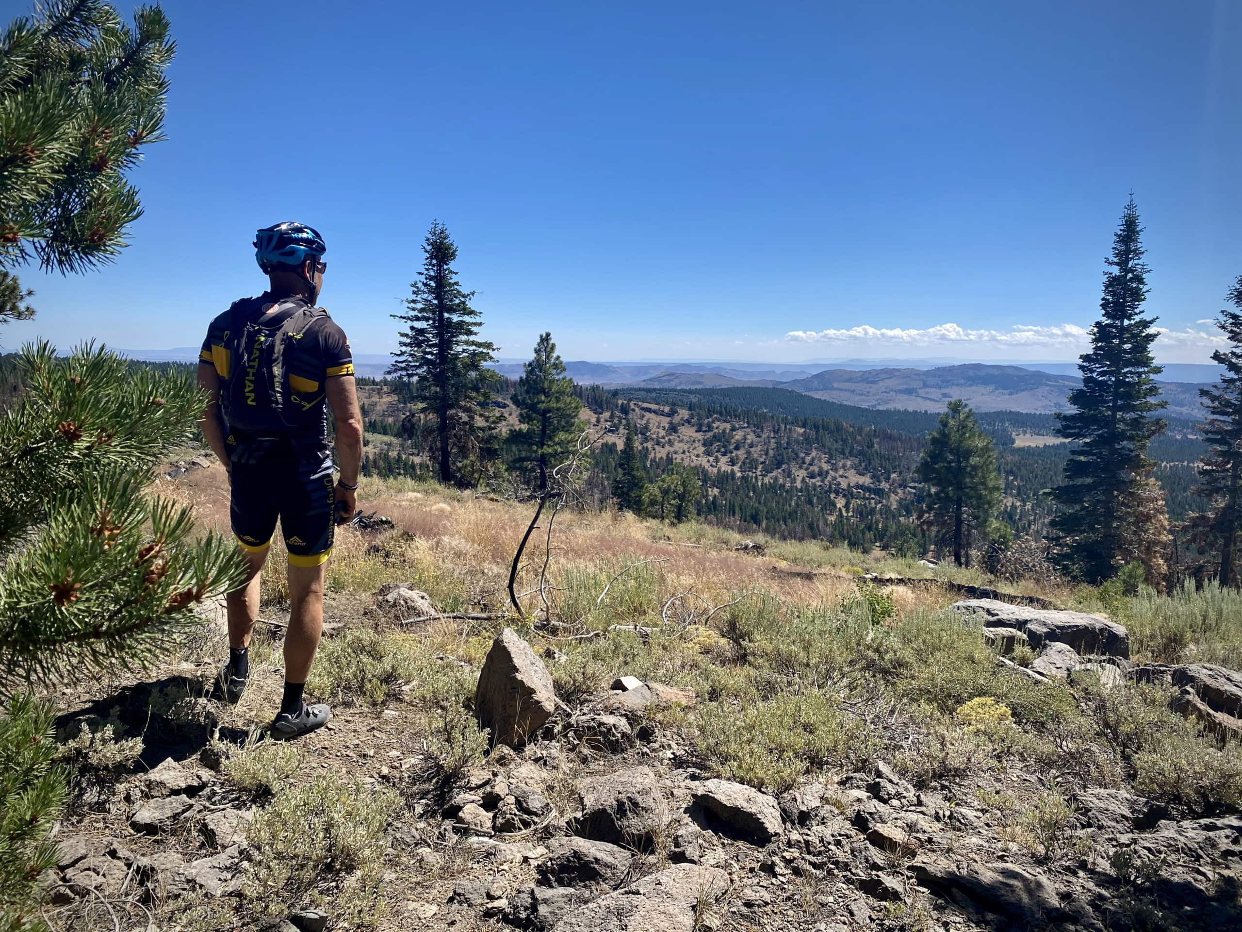 Cyclist taking in the open and distant views from high up in the Fremont National Forest.