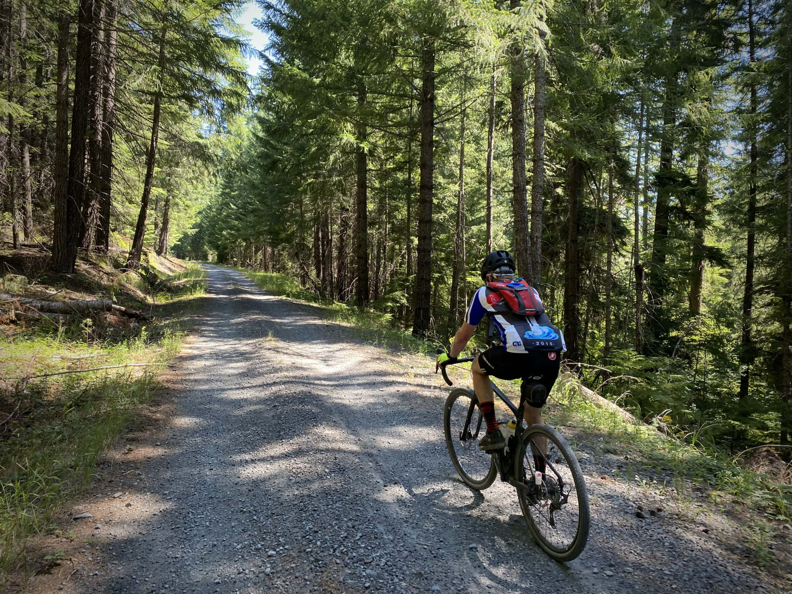 Cyclist on the gravel portion of NF 23 along Swift Creek in the Willamette National Forest.