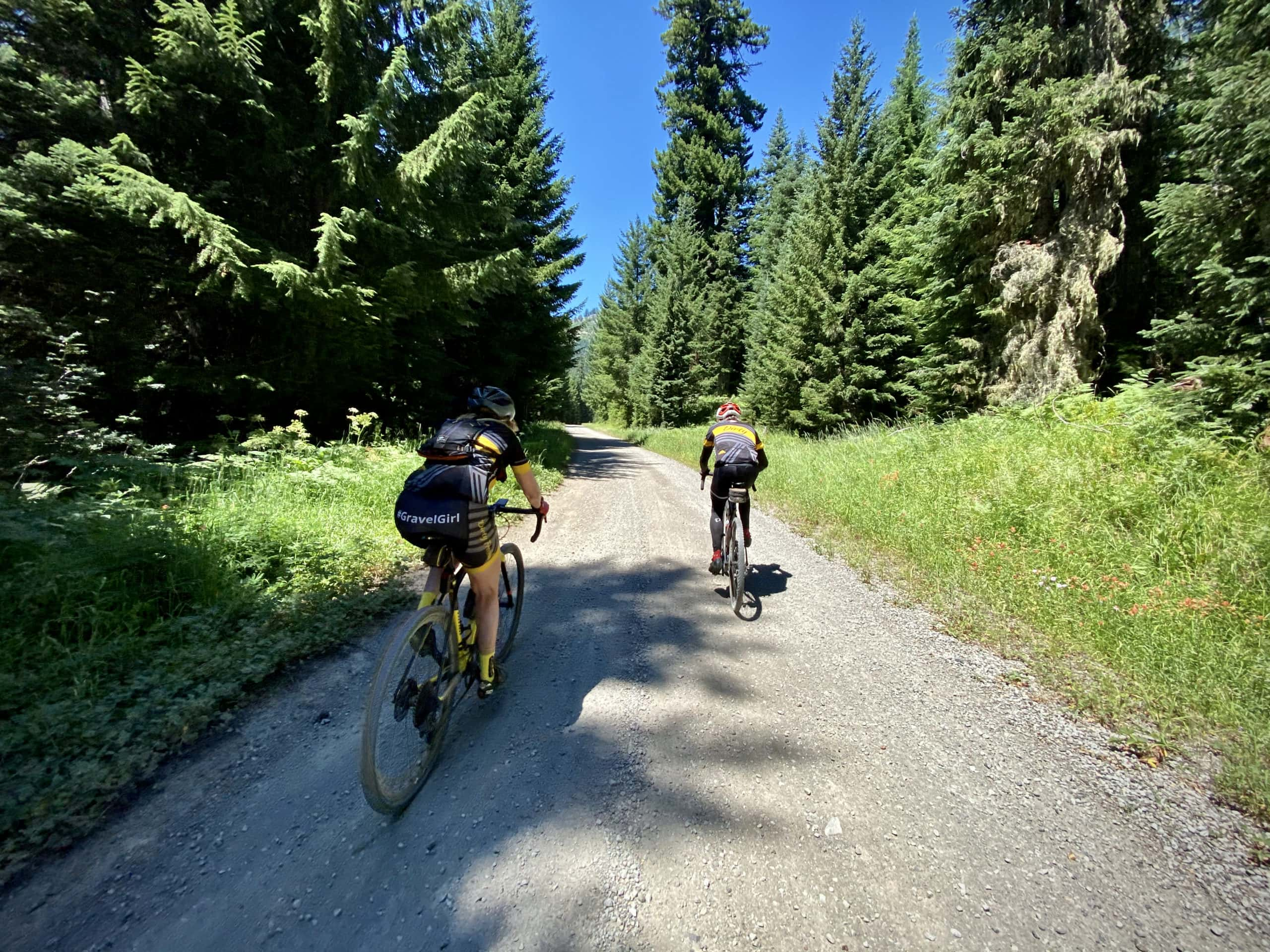 Two gravel cyclists on NF 23, chasing the shade. Near Oakridge, OR.