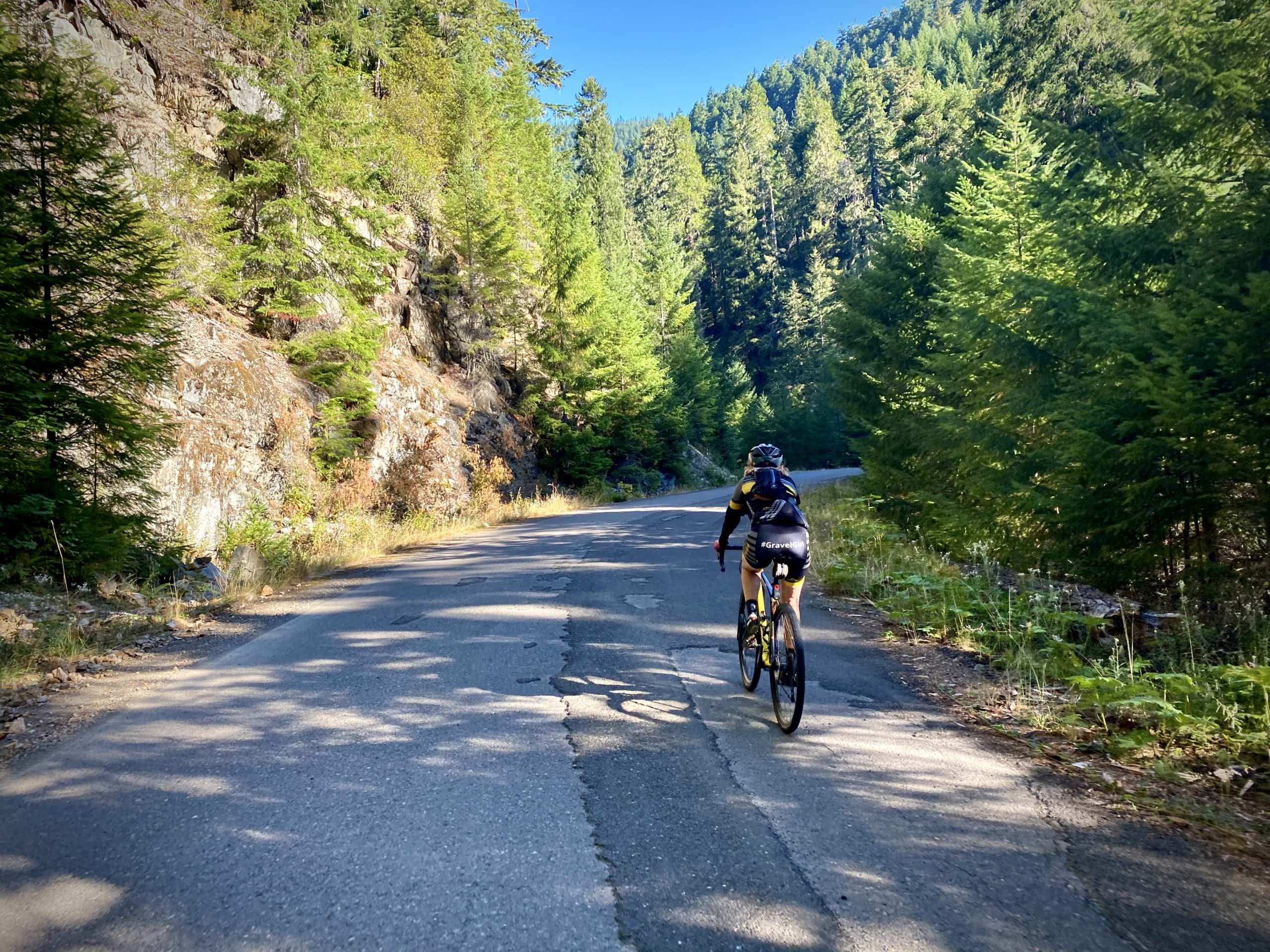 Cyclist on NF-22 near the junction with NF-2213 near Dorena, Oregon.
