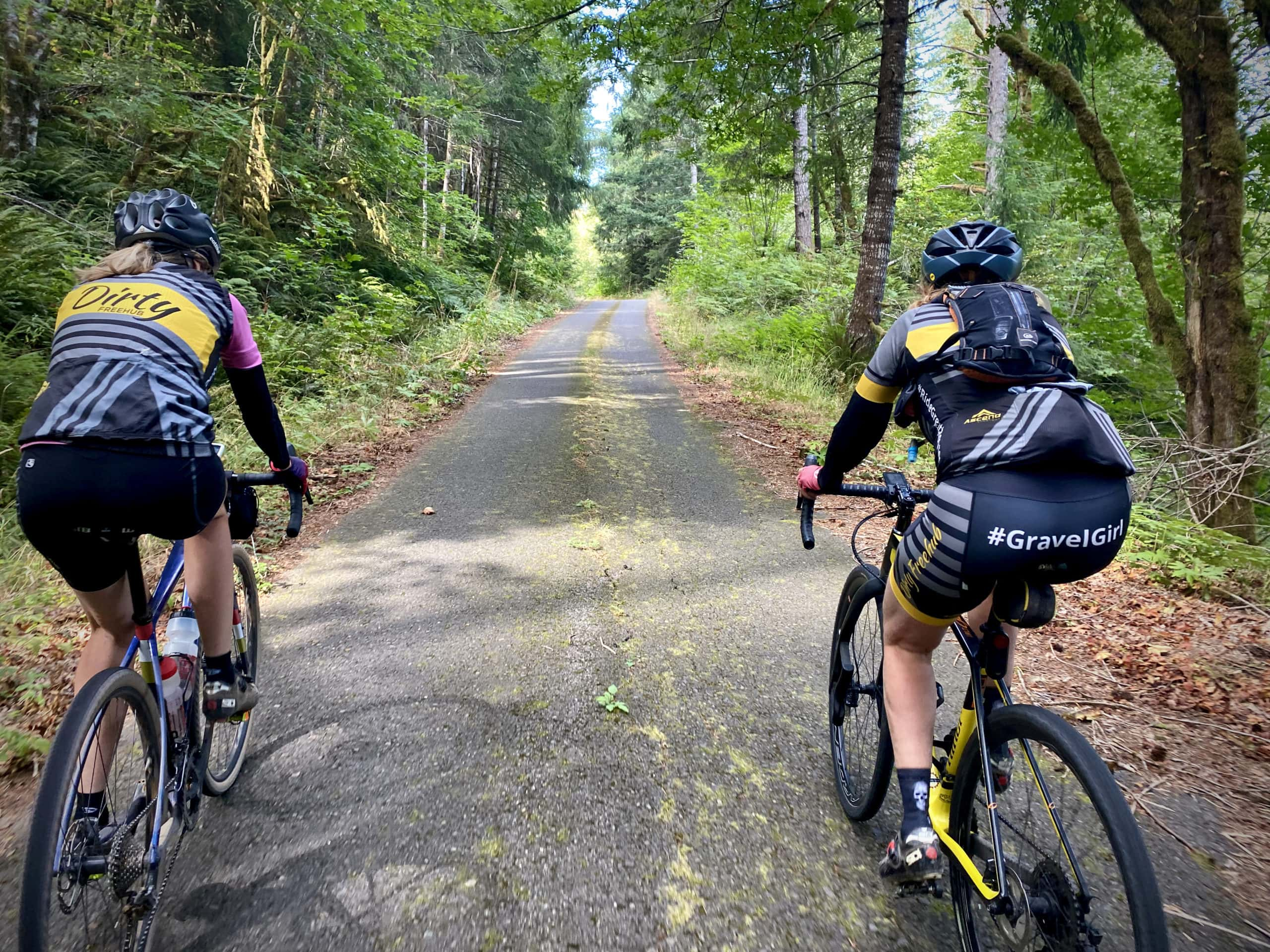 Gravel Girls climbing the paved section of NF 1746 in the Willamette National Forest.