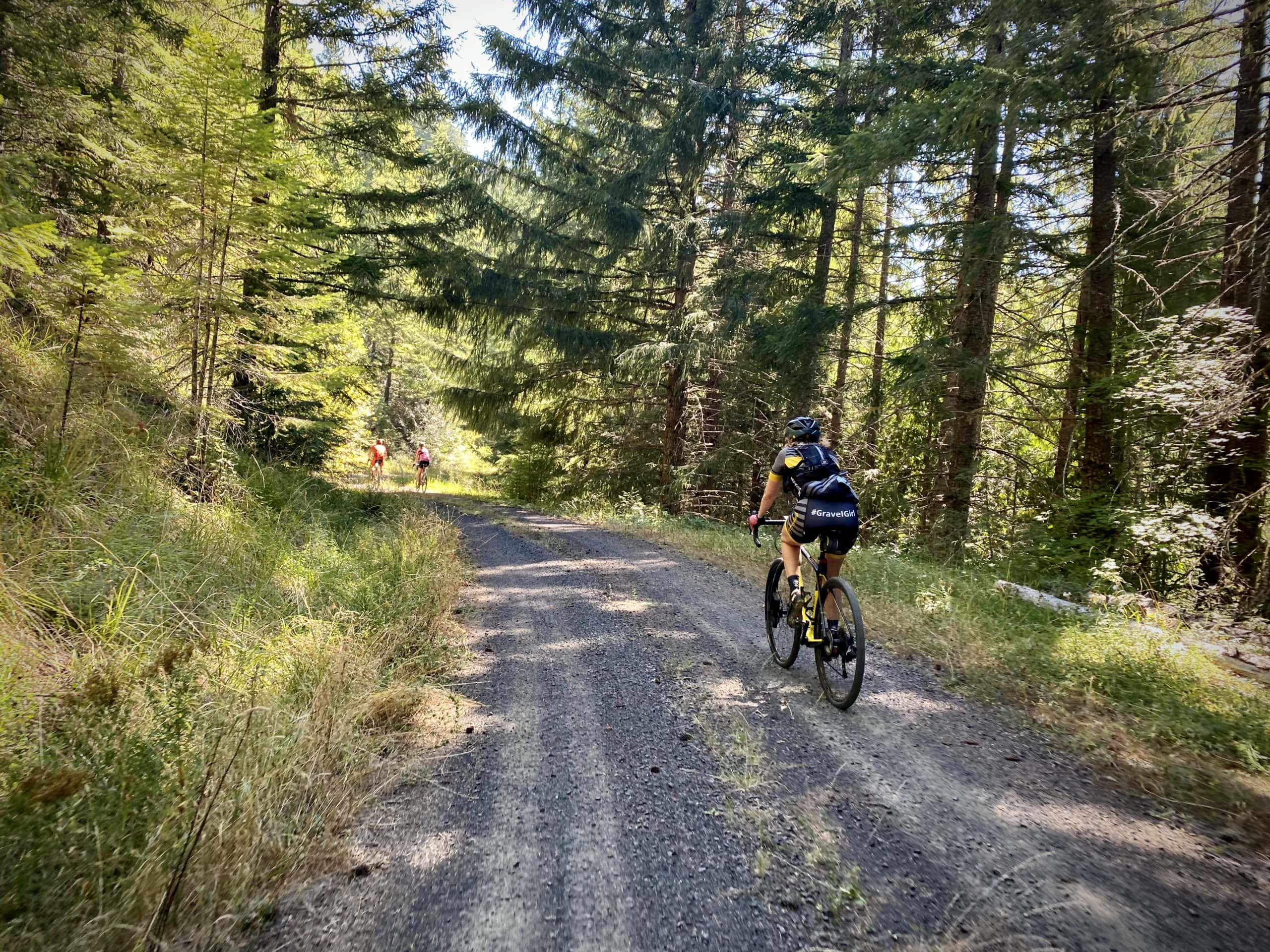 Gravel Girl riding through the forest near Cottage Grove.