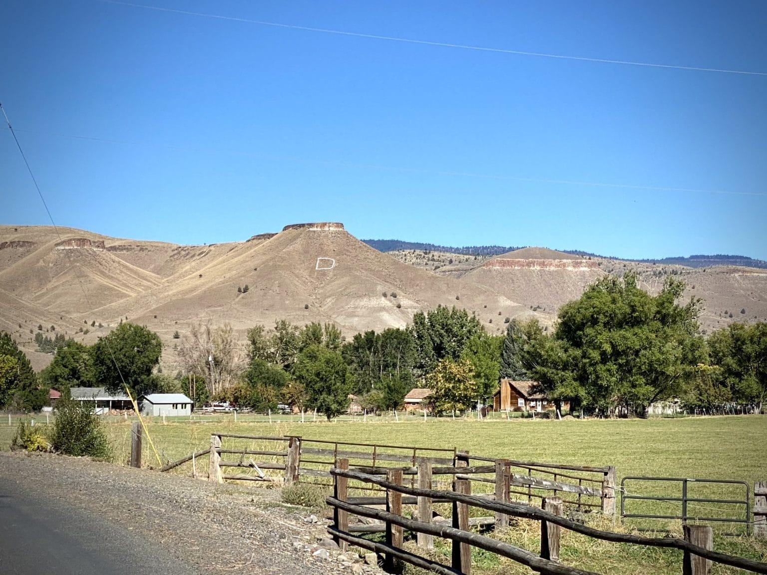 "The big white ""D"" on the hillside near Dayville, Oregon."