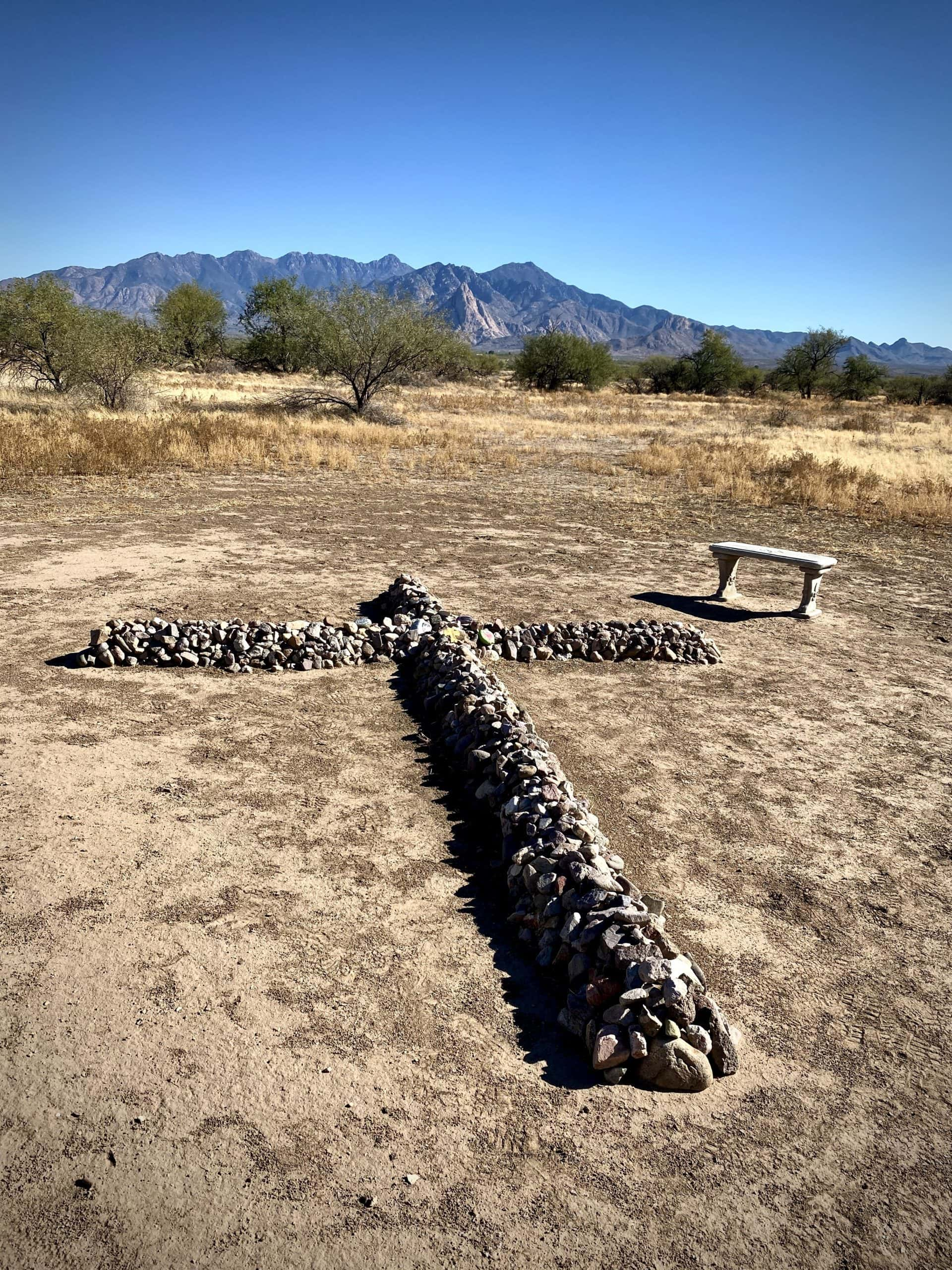 A cross made of rocks along the historic Anza trail in Green Valley, Arizona.