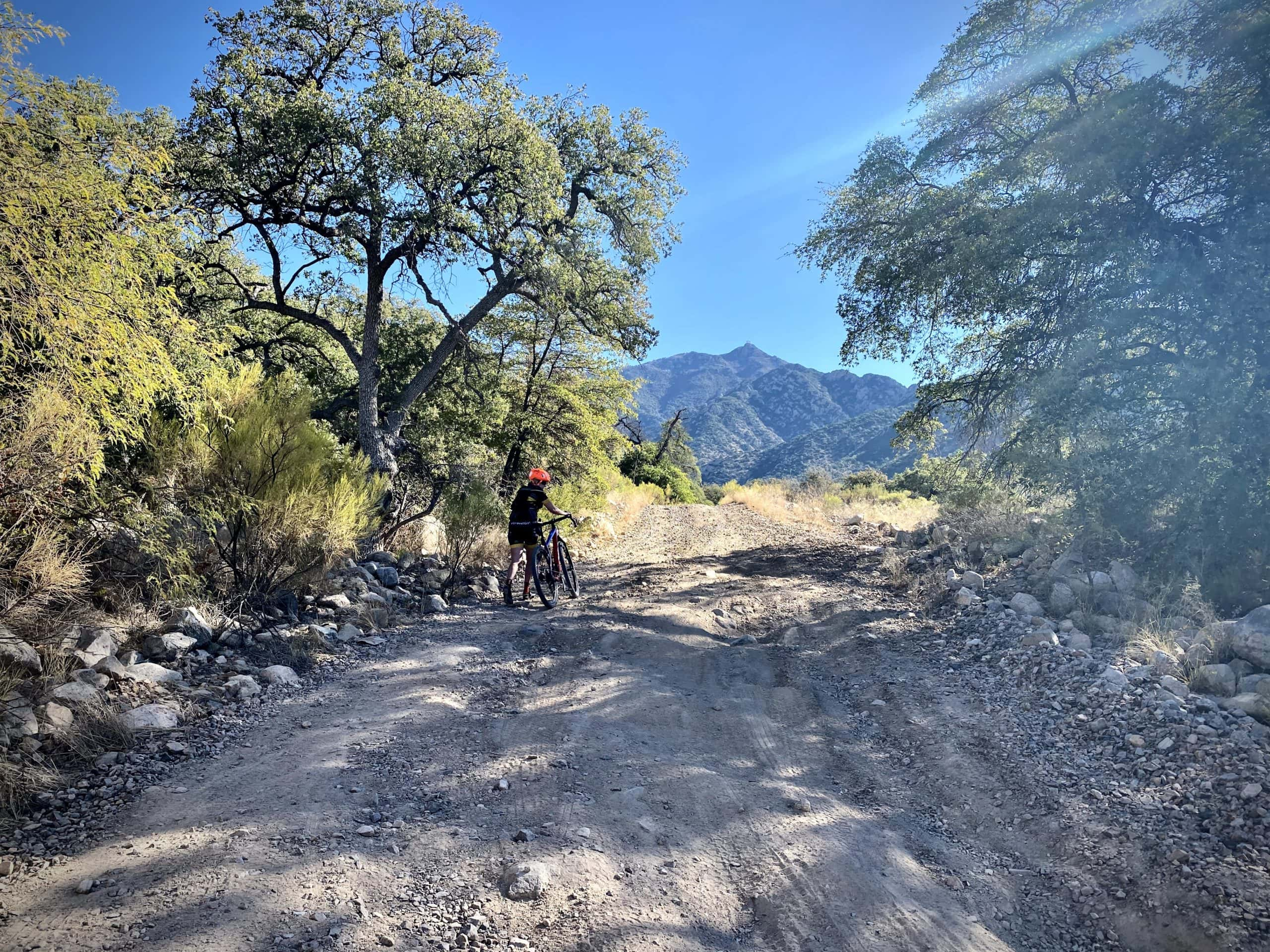 Gravel cyclist walking a section of the rough and rutted gravel road leading to the radio towers.