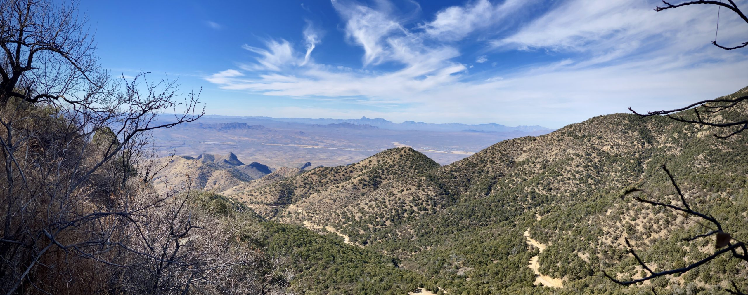 A panorama view of the dirt portion of Mt Hopkins road near Green Valley, AZ.