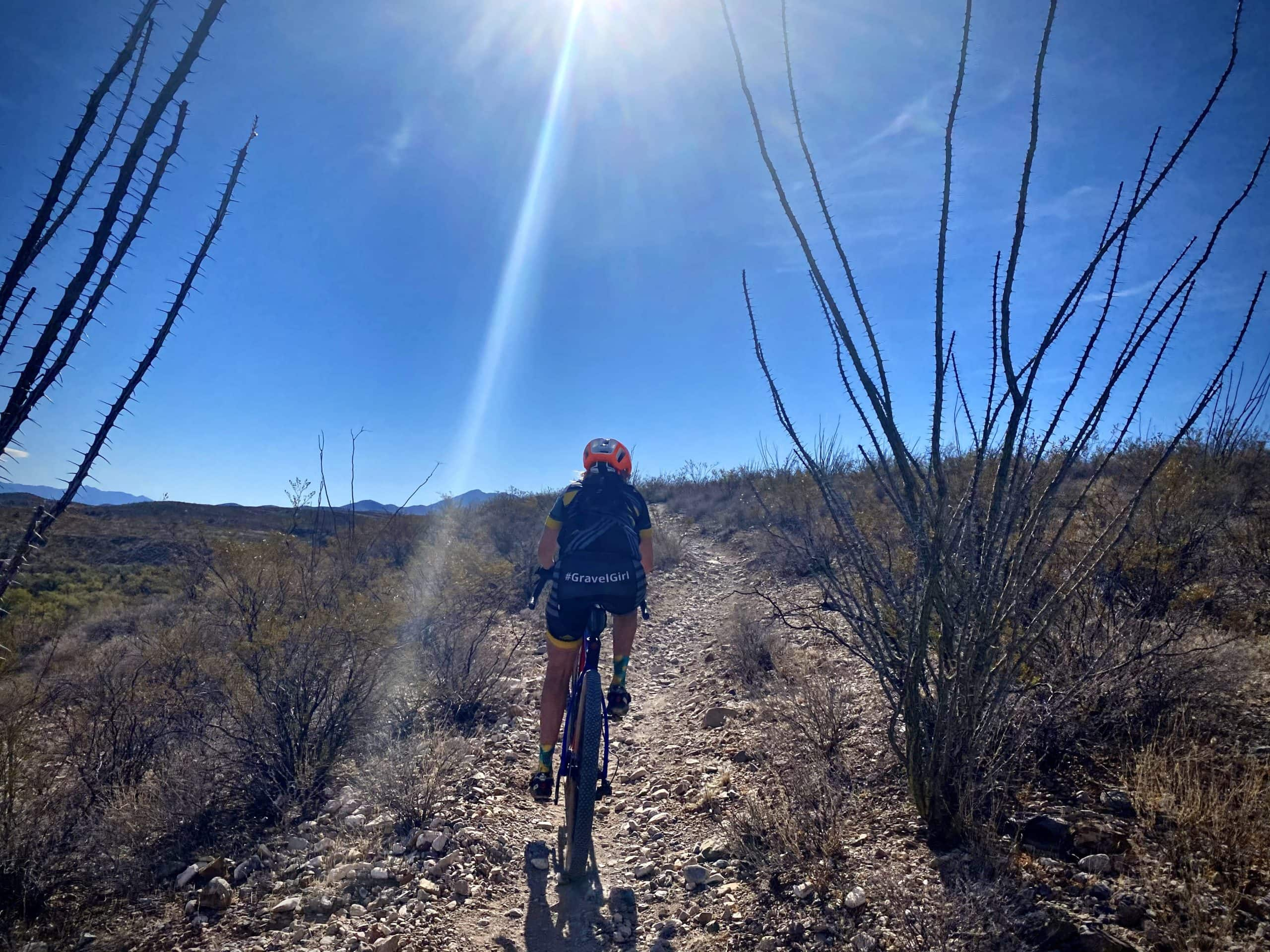 Gravel Girl leading out on the Arizona Trail from the Gabe Zimmerman trailhead.