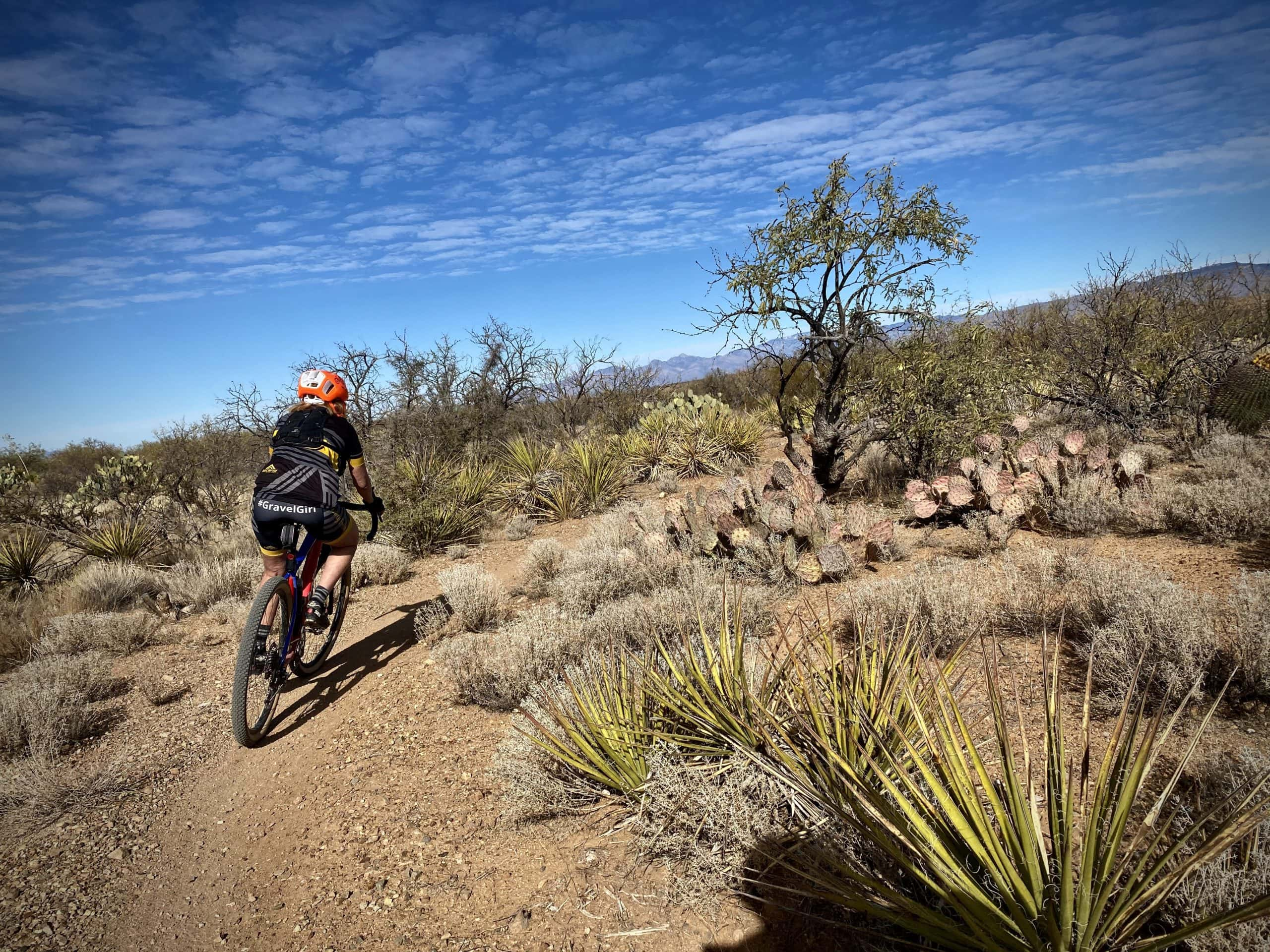 Gravel Girl on the section of the AZT just north of Sahuarita Road.