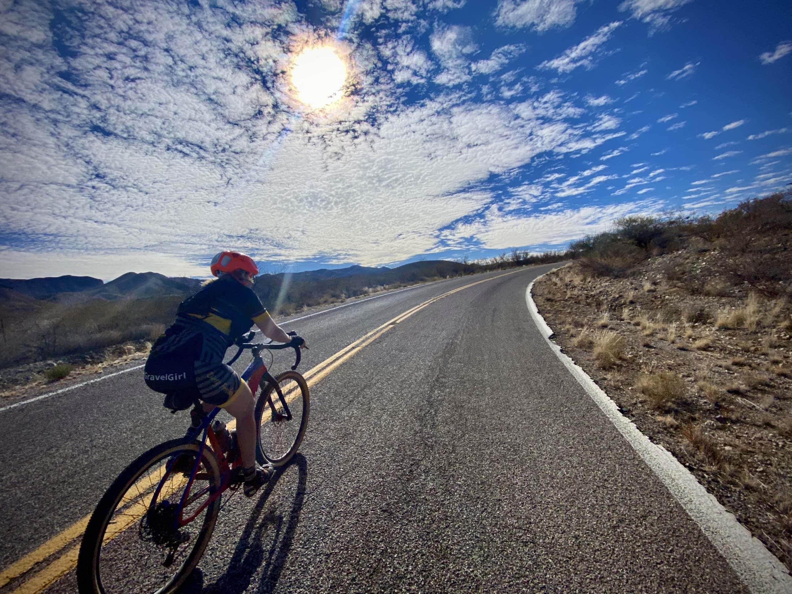 Cyclist riding the Old Sonoita Highway.