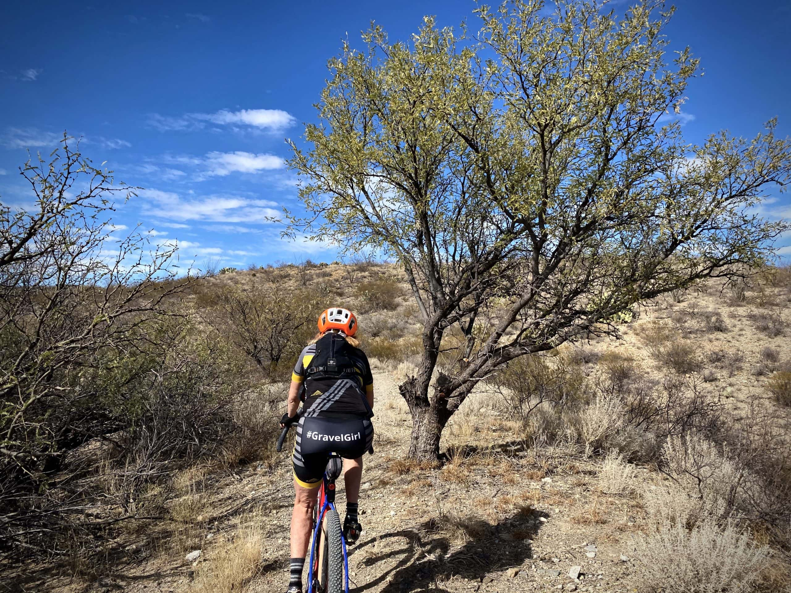 Gravel Cyclist riding the Sahuarita section of the AZT.