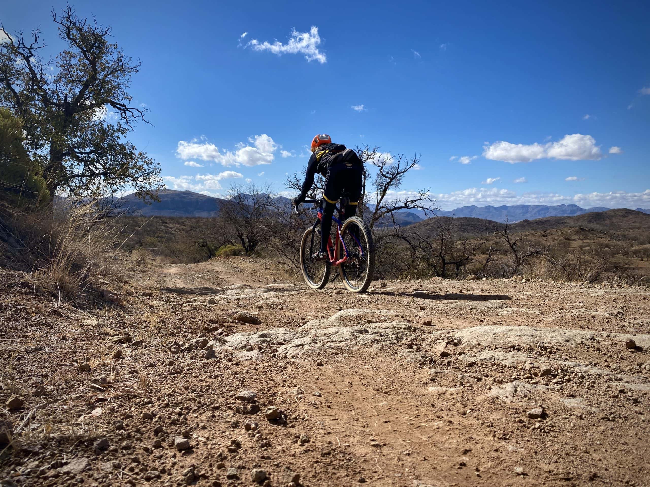 Gravel Girl descending the rough and gnarly from Alto Ruins, Arizona.