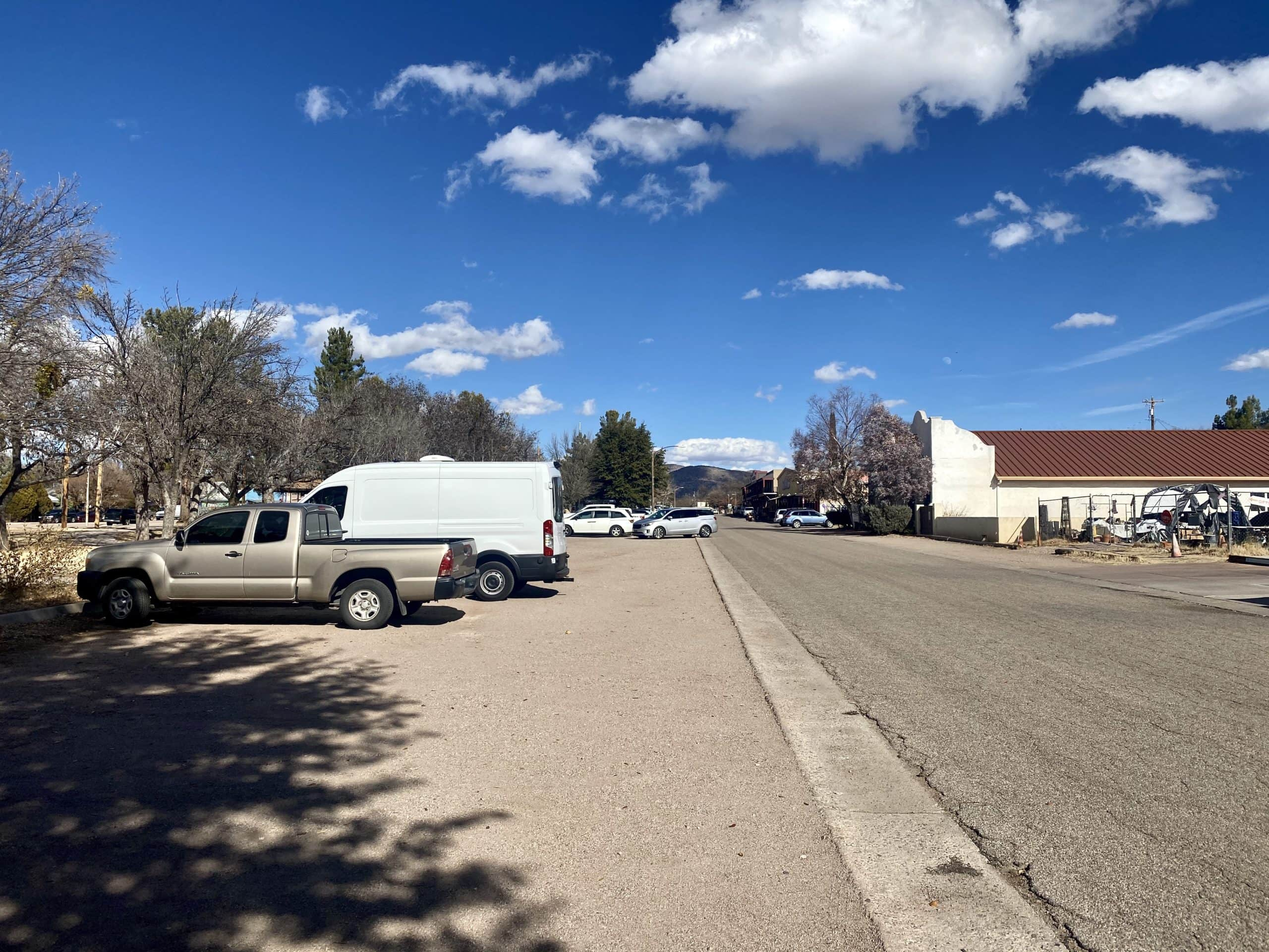 The parking area for the Dirty Freehub Alto Ruins route leaving from Patagonia, Arizona.