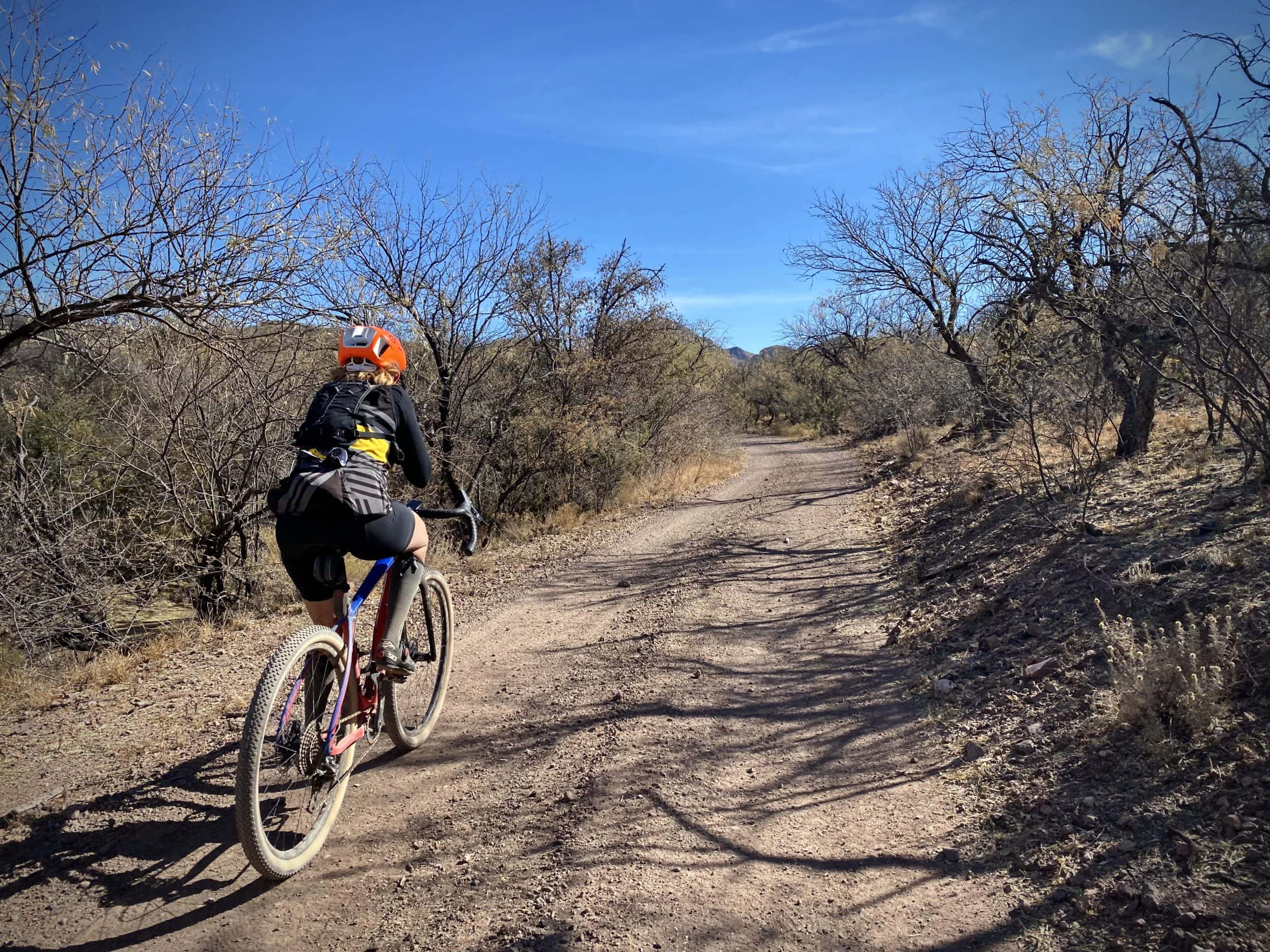 Gravel cyclist riding on dirt road with Mesquite trees.