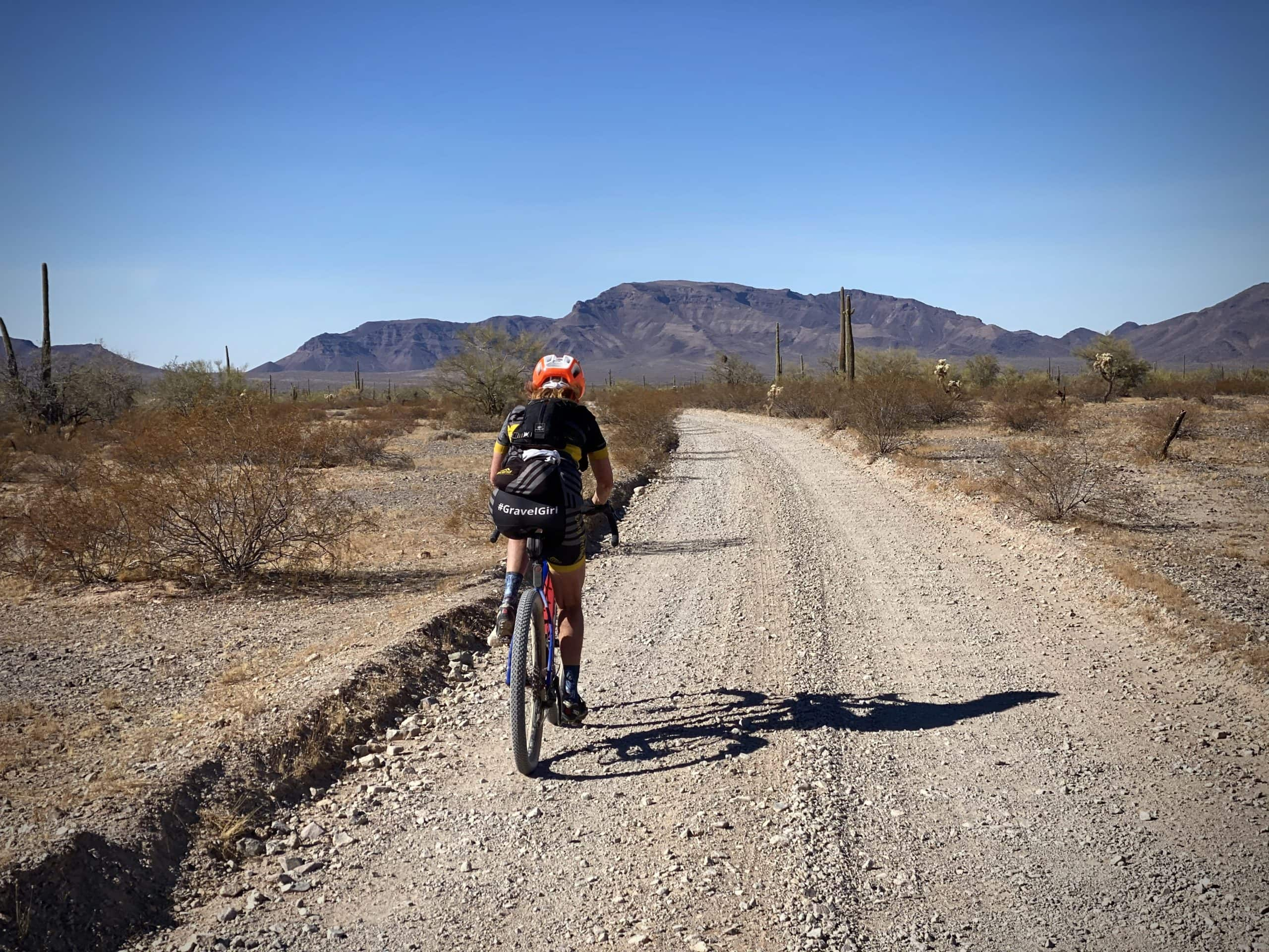 Charlie Bell road with cyclist and the Growler Mountains in the distance.