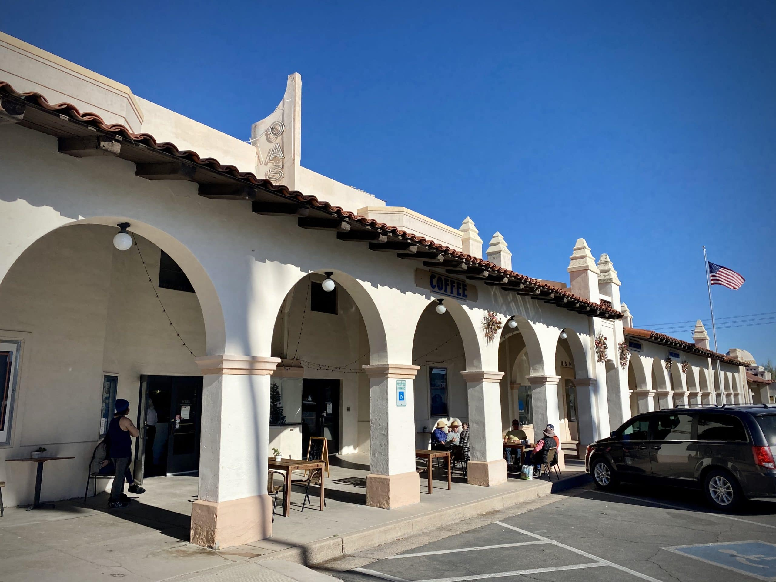 Front of the coffee shop in the Ajo Town Plaza.