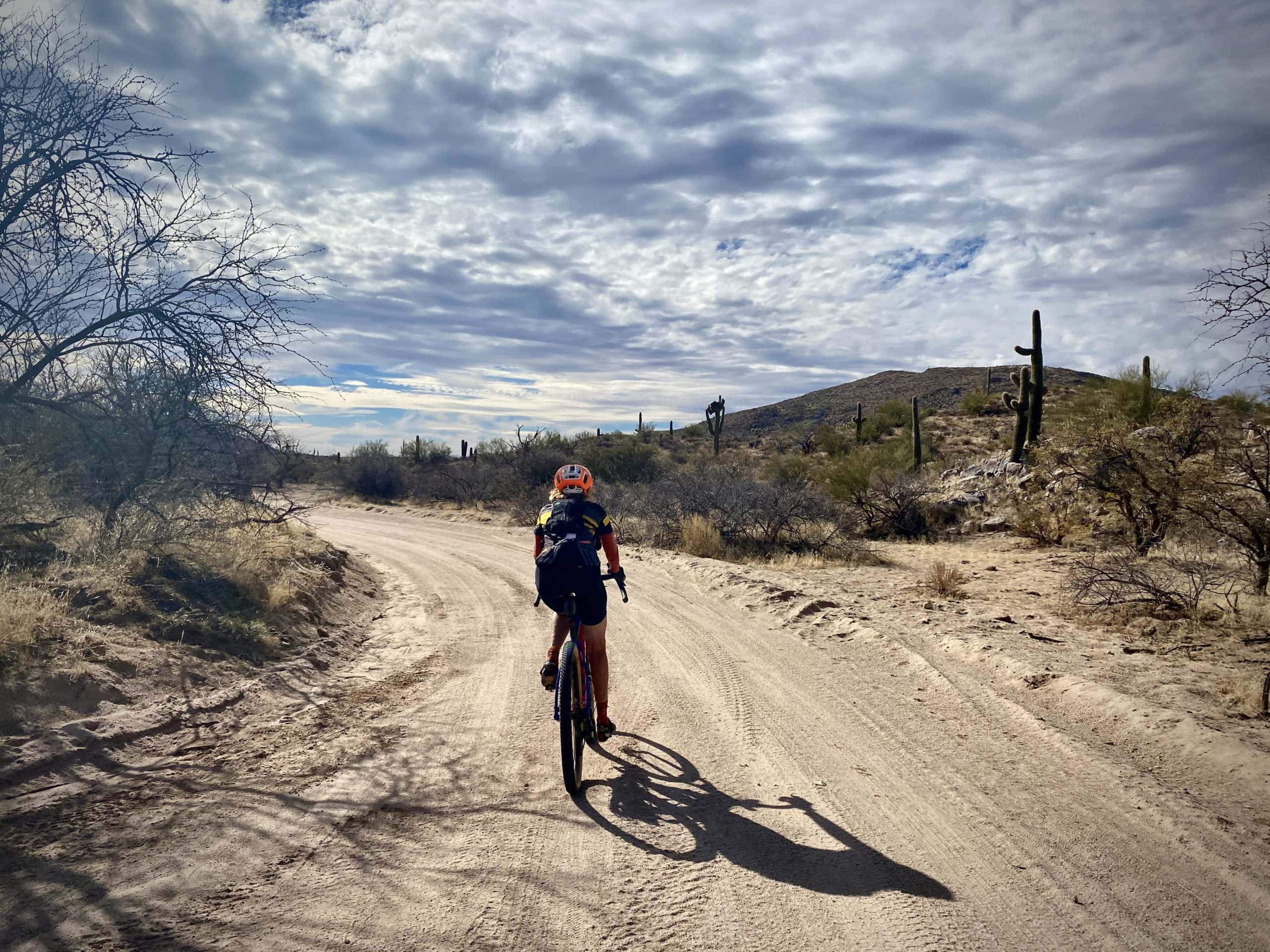 Gravel Girl going through sandy wash on 96 Ranch Road south of Florence, Arizona.
