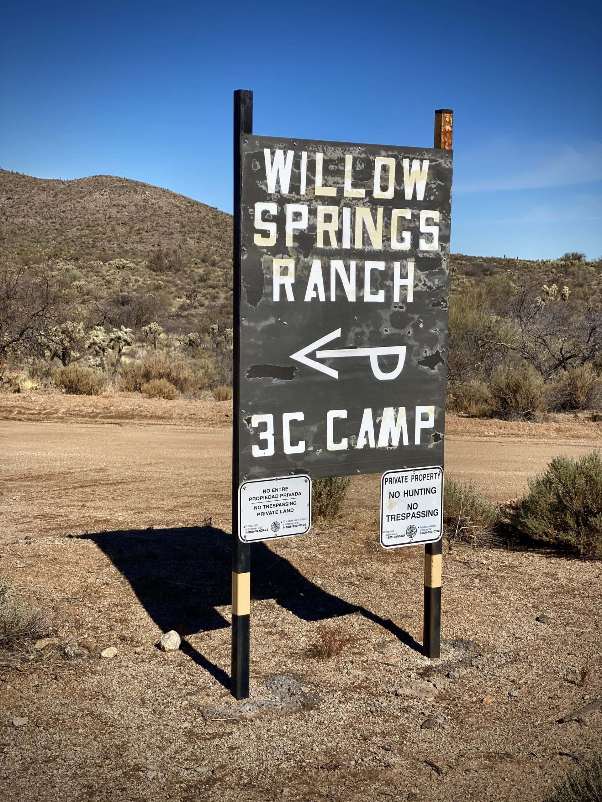 Sign for Willow Springs Ranch near Florence, Arizona.