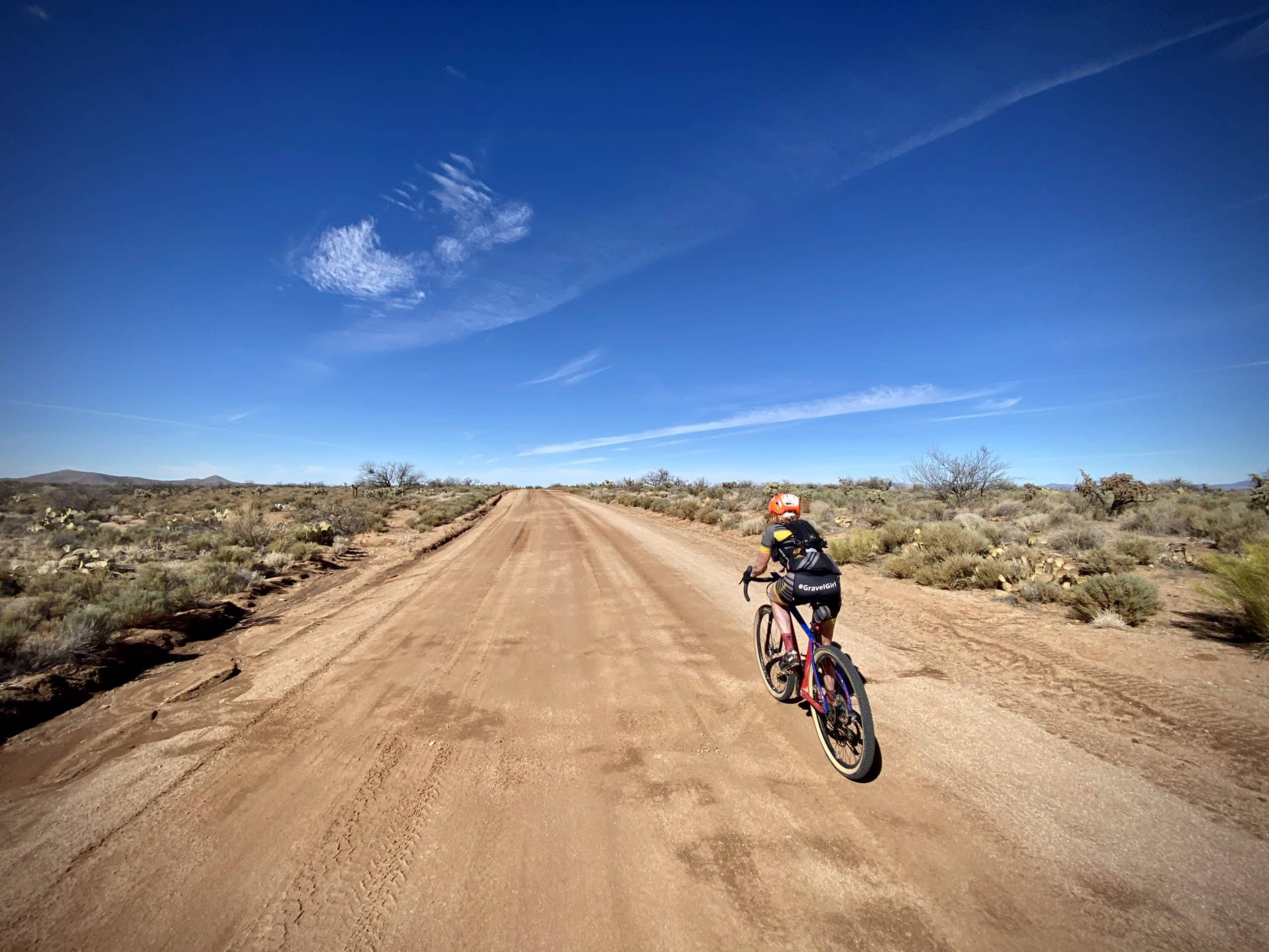 Gravel Girl on fast, hard-packed gravel road between Florence and Tucson.
