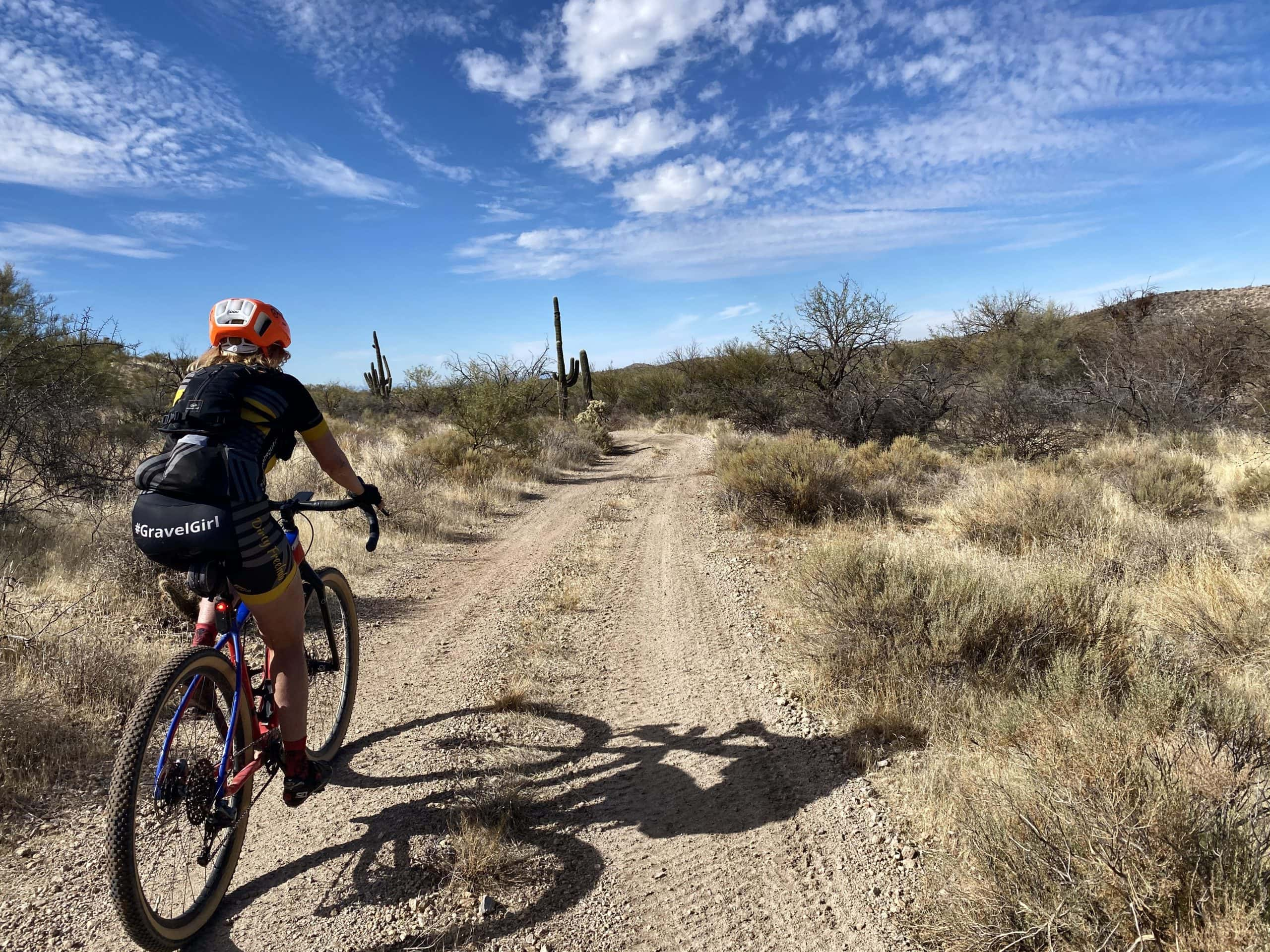 Gravel Girl on fast, but primitive dirt road north of the 96 Ranch Road.