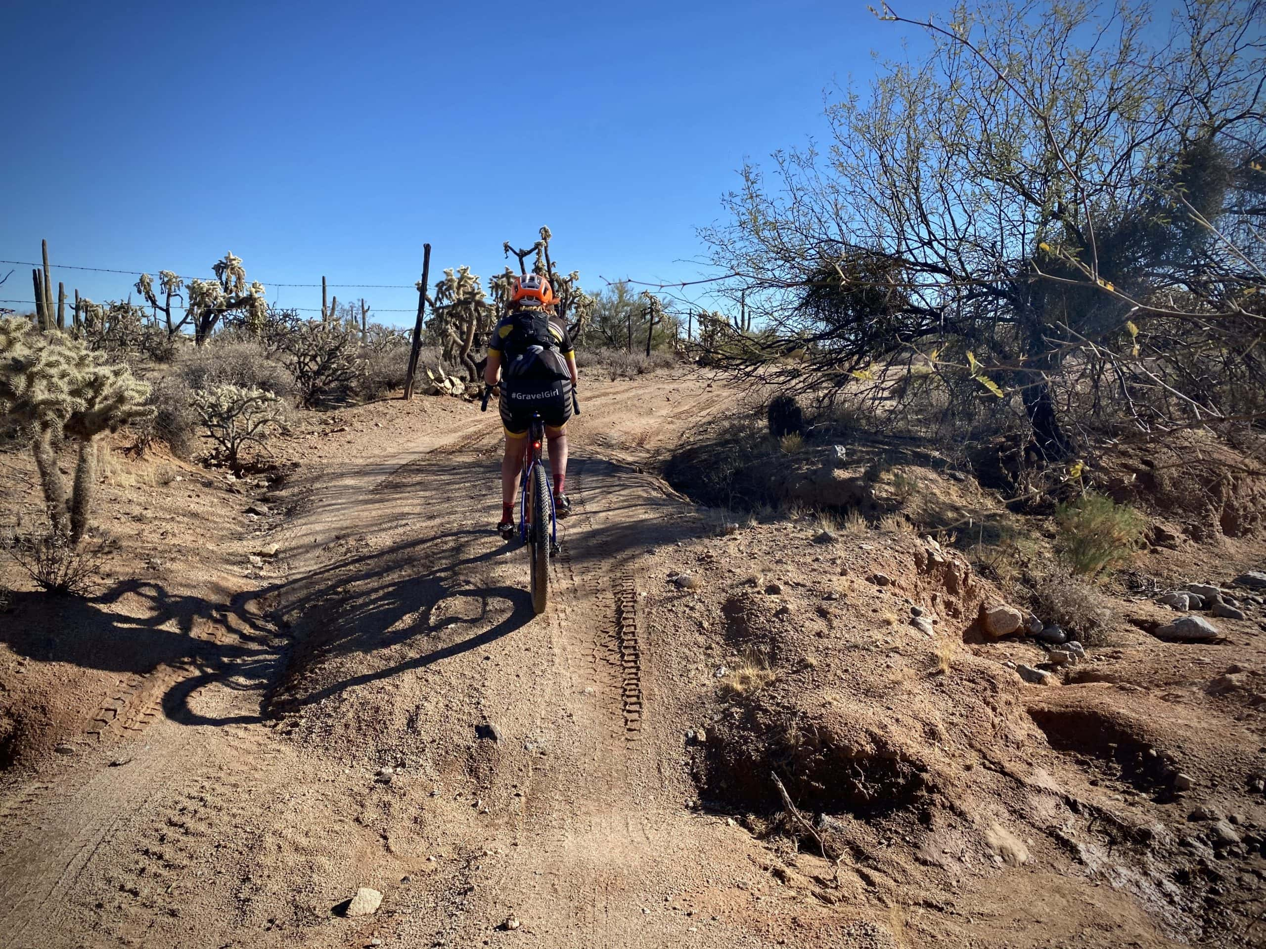 Gravel cyclist riding through a rutted section of gravel road in the Sonoran desert.