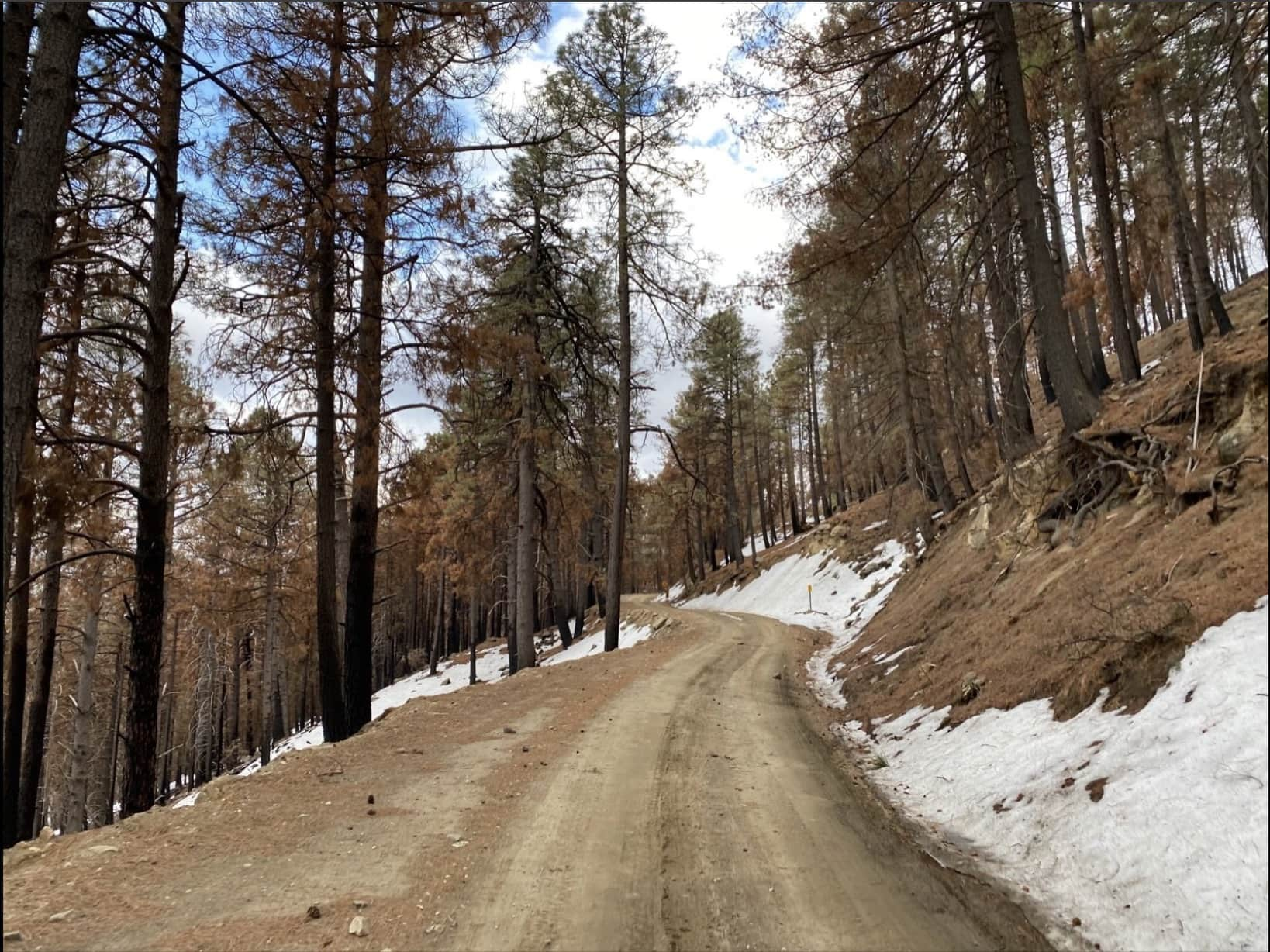 The Mt Lemmon Control Road in mid-January with snow, gravel, and a little ice.