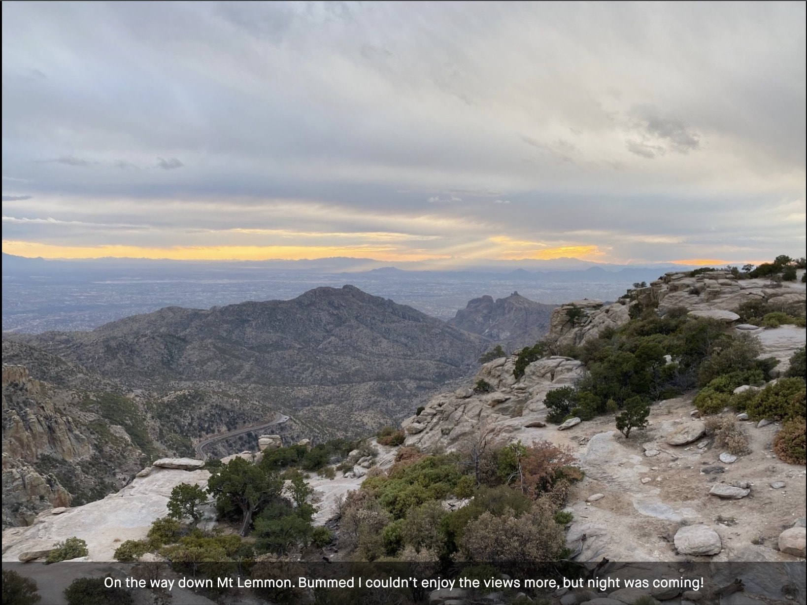 Looking down towards Tucson from high up on the paved road leading to Mt Lemmon.