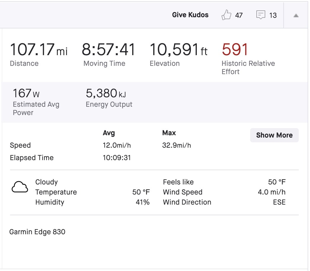 Ride Metrics for the Mt Lemmon Epic gravel route on Dirty Freehub.