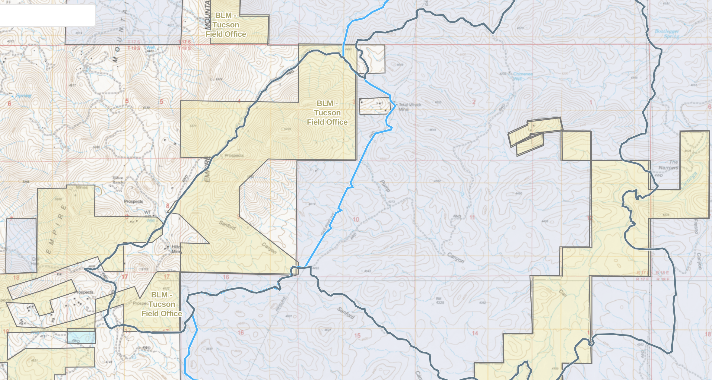 Map of area near the ghost town of Total Wreck in Arizona.