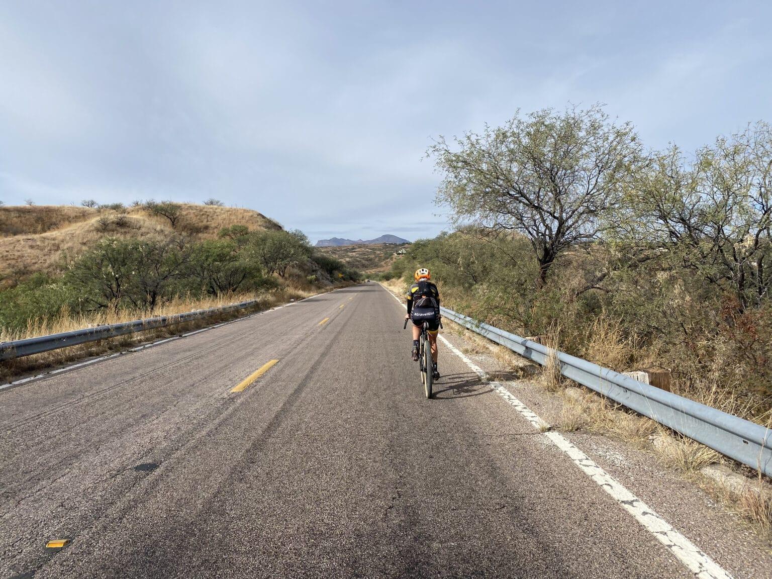 Uphill gravel road near the Mexico border in Arizona.