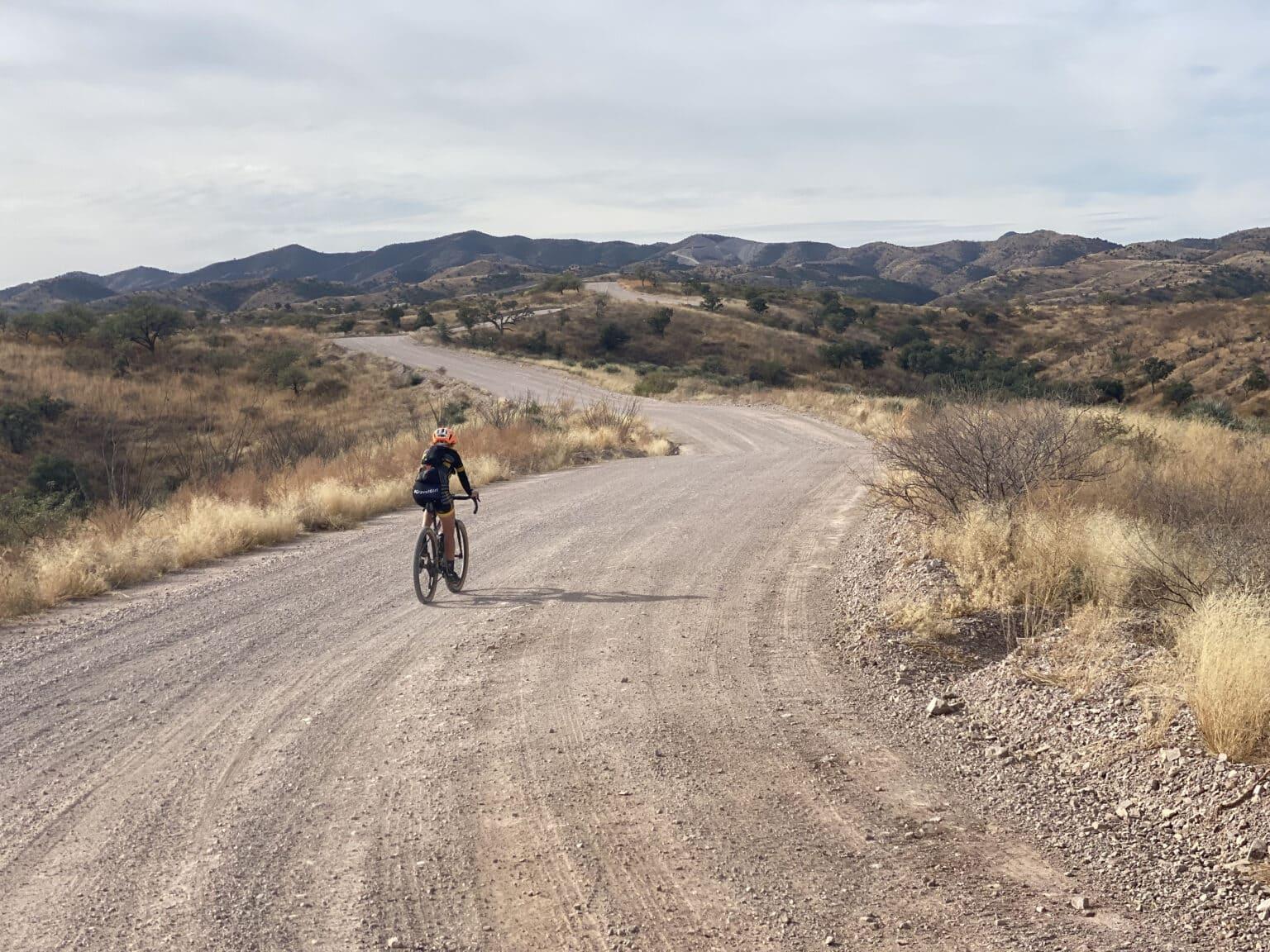 Gravel road near the new border wall in southern Arizona.