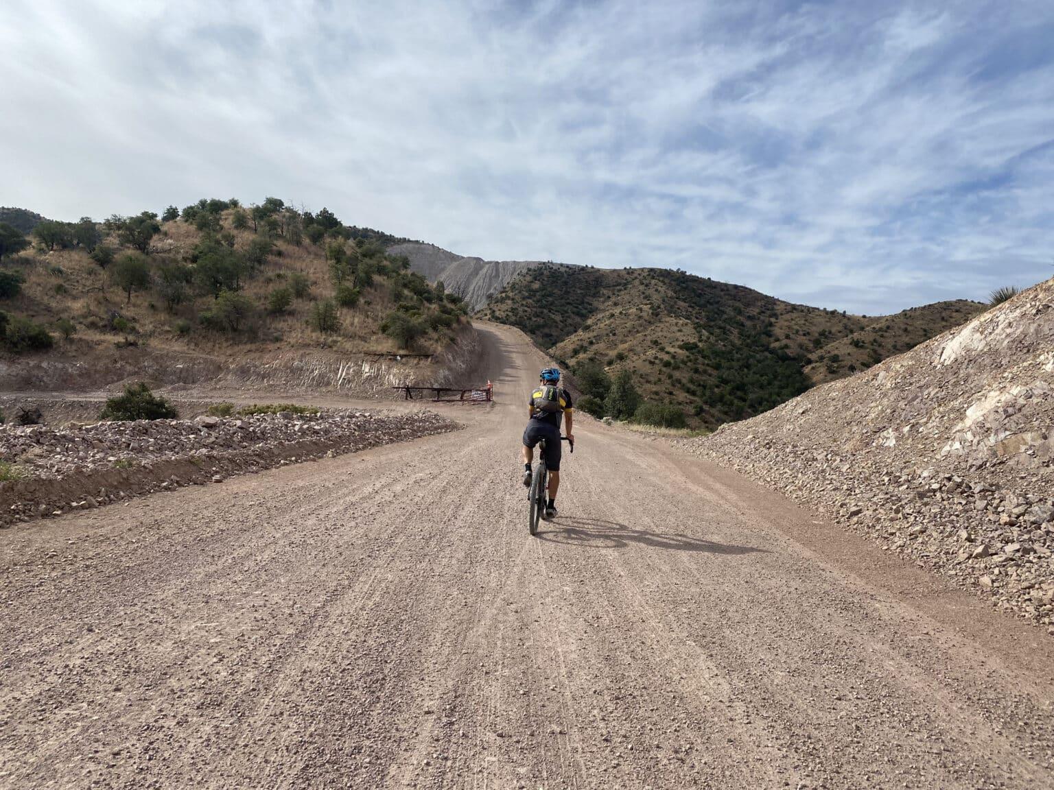 Bike along gravel road near Nogales, Mexico.