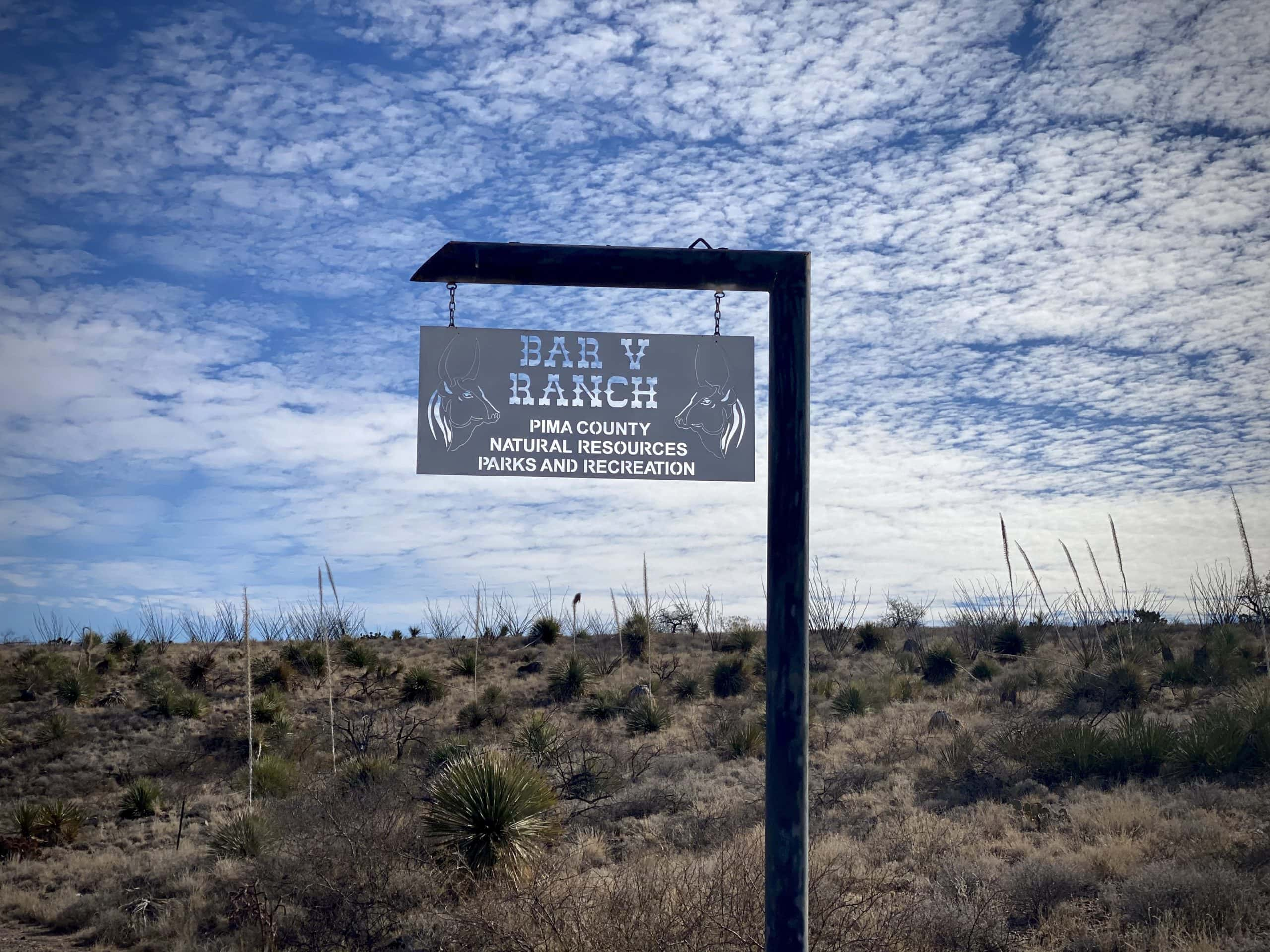 The sign to Bar V Ranch managed by Pima County in Arizona.