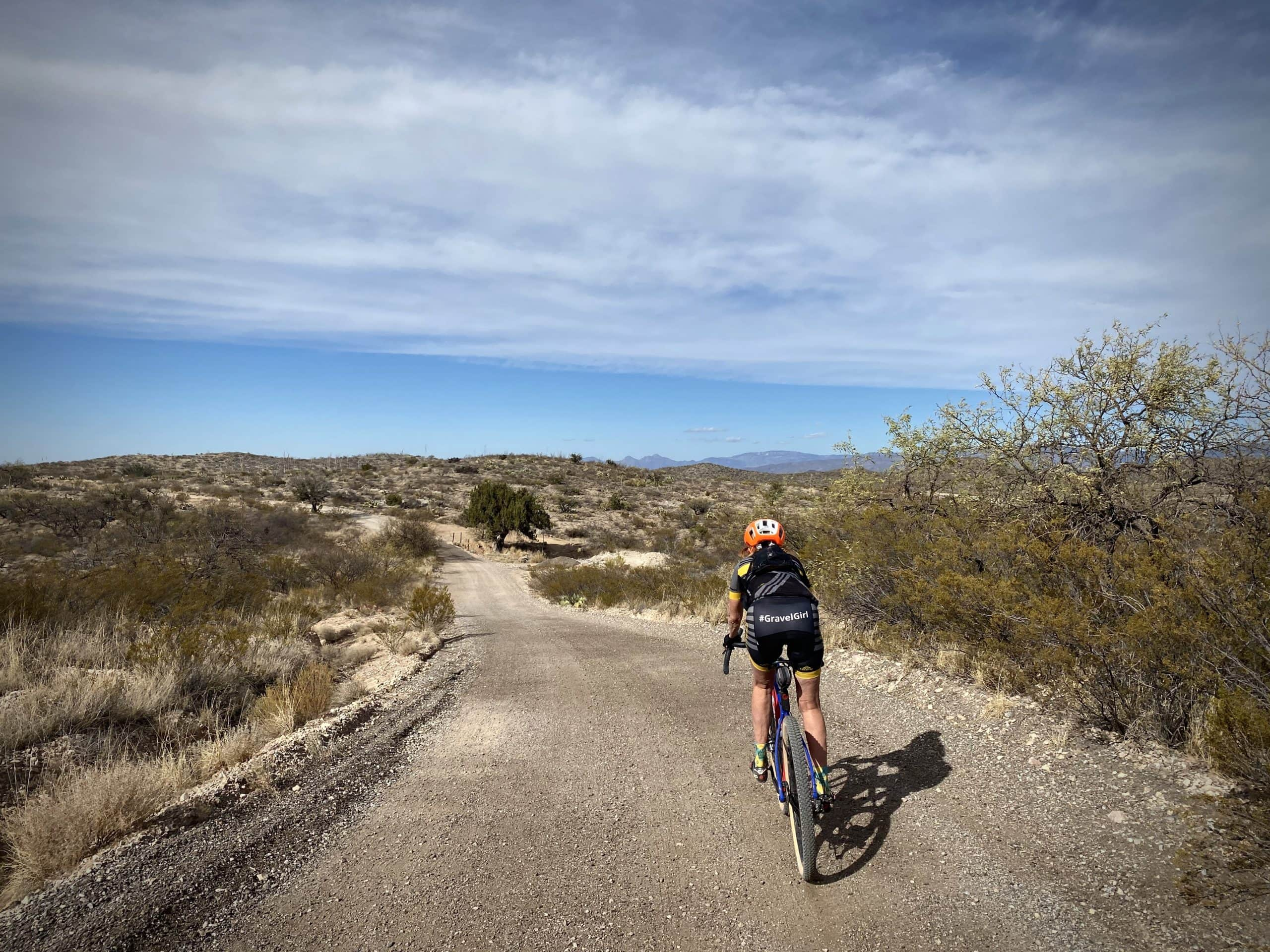 Gravel Girl on unpaved road near the Empire Mountains in Arizona.