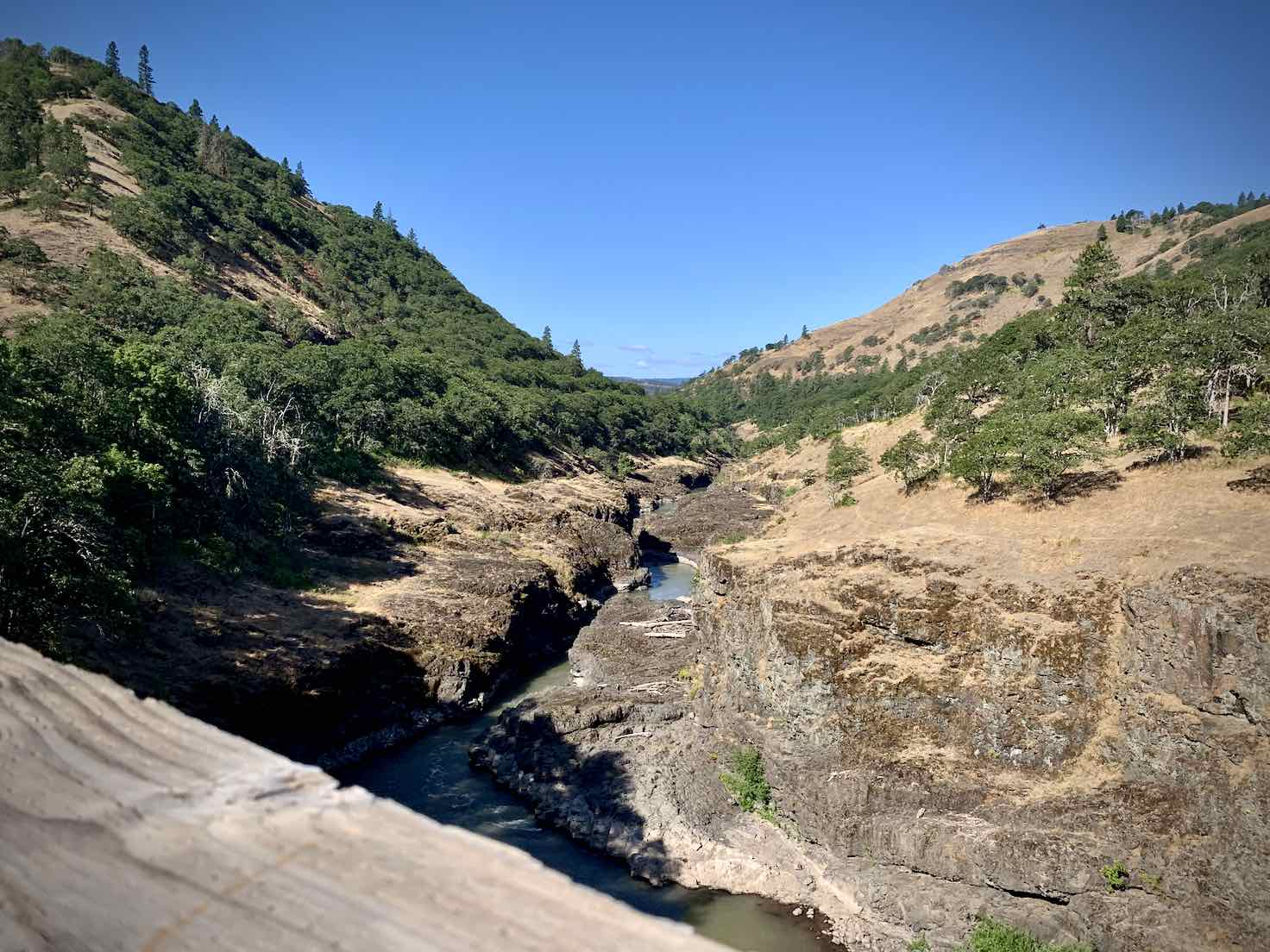 The view downriver of the Klickitat from the Fischer HIll Trestle near Lyle, WA.