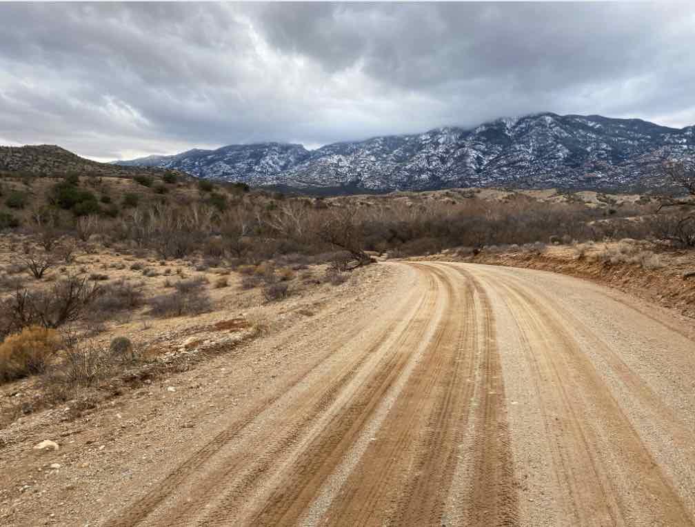 The gravel portion of Mescal road near Tucson, AZ.