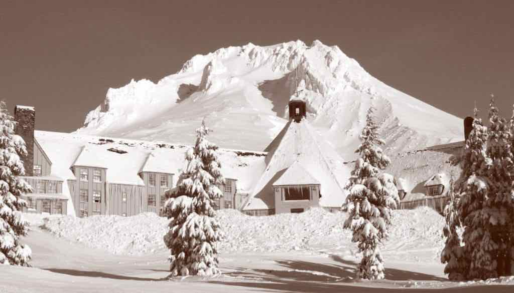 Historic picture of Timberline Lodge in the winter.