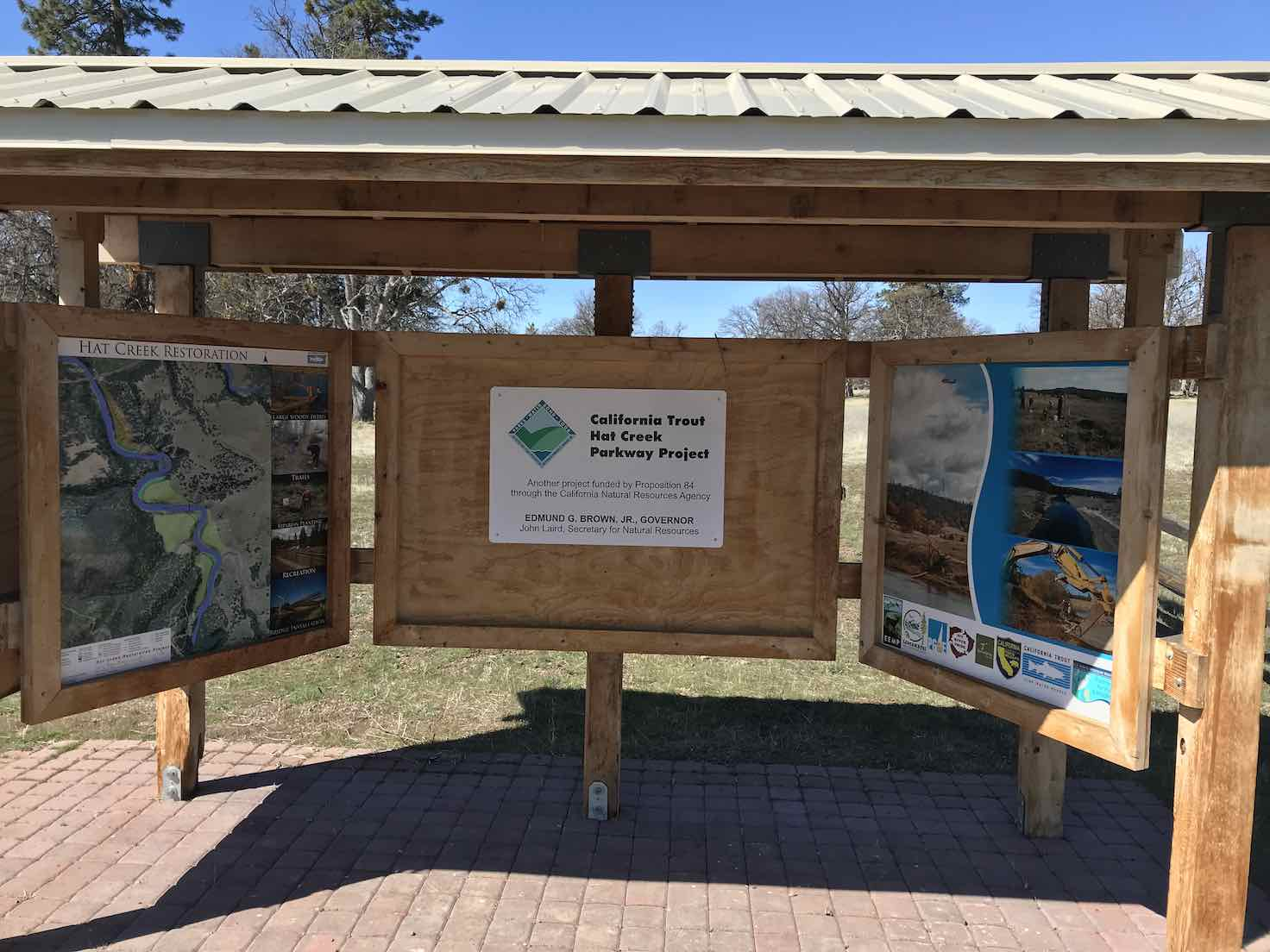Kiosk information booth at Hat Creek Crossing park.