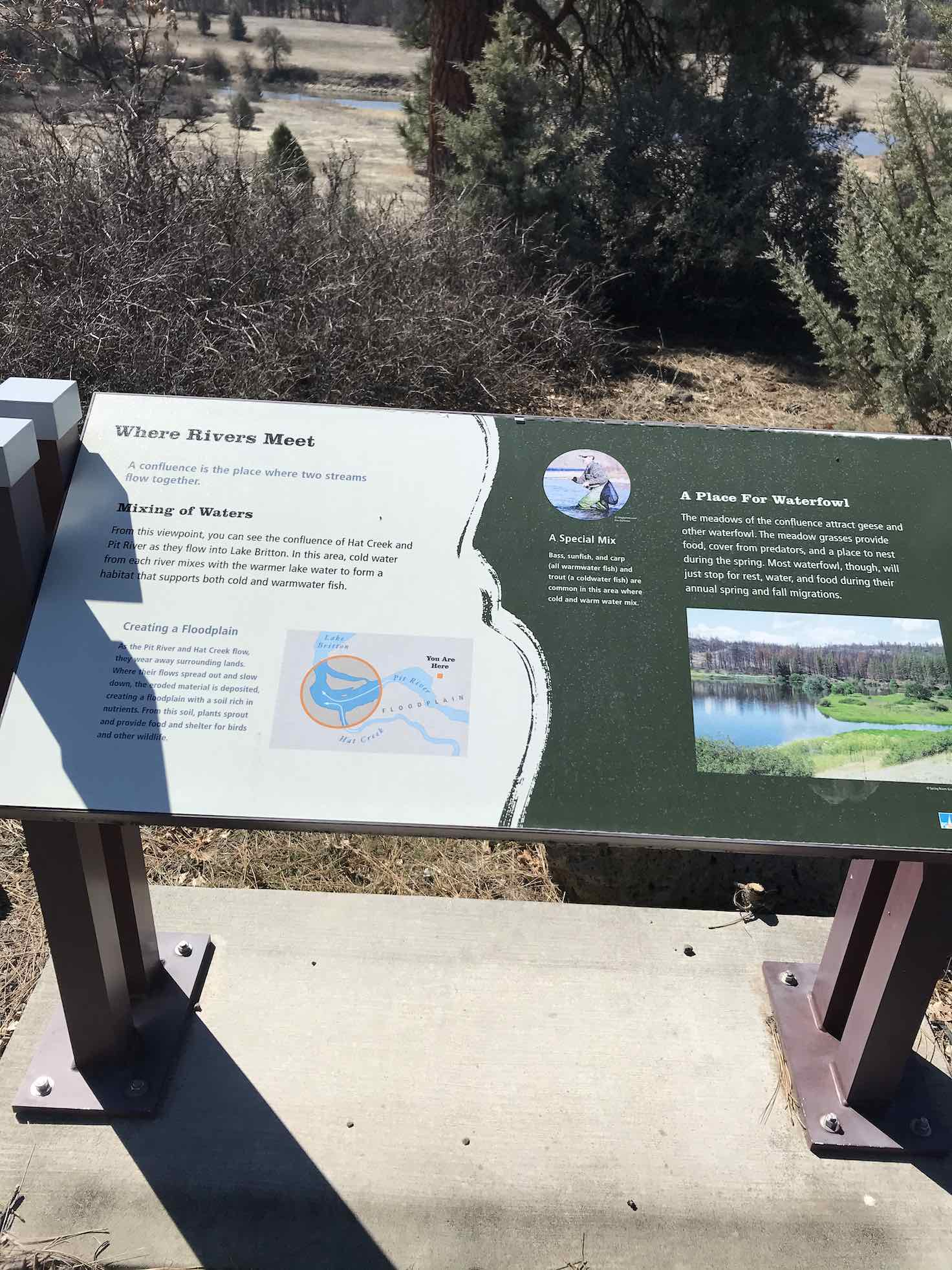 Kiosk sign at park at the confluence of the Pit river and Hat Creek.