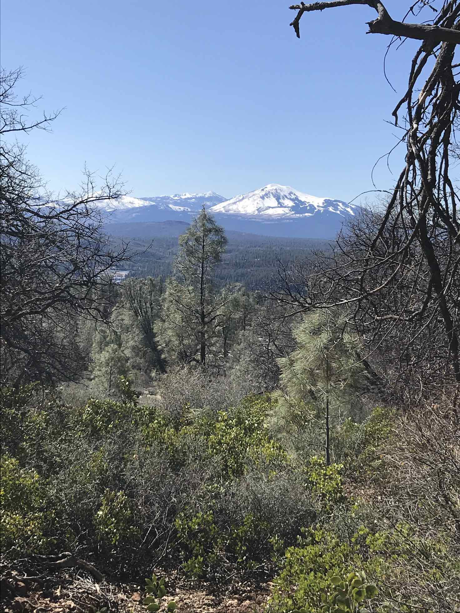 Views of Burney Mountain as descending dirt road from Soldier Mountain in Northern California.