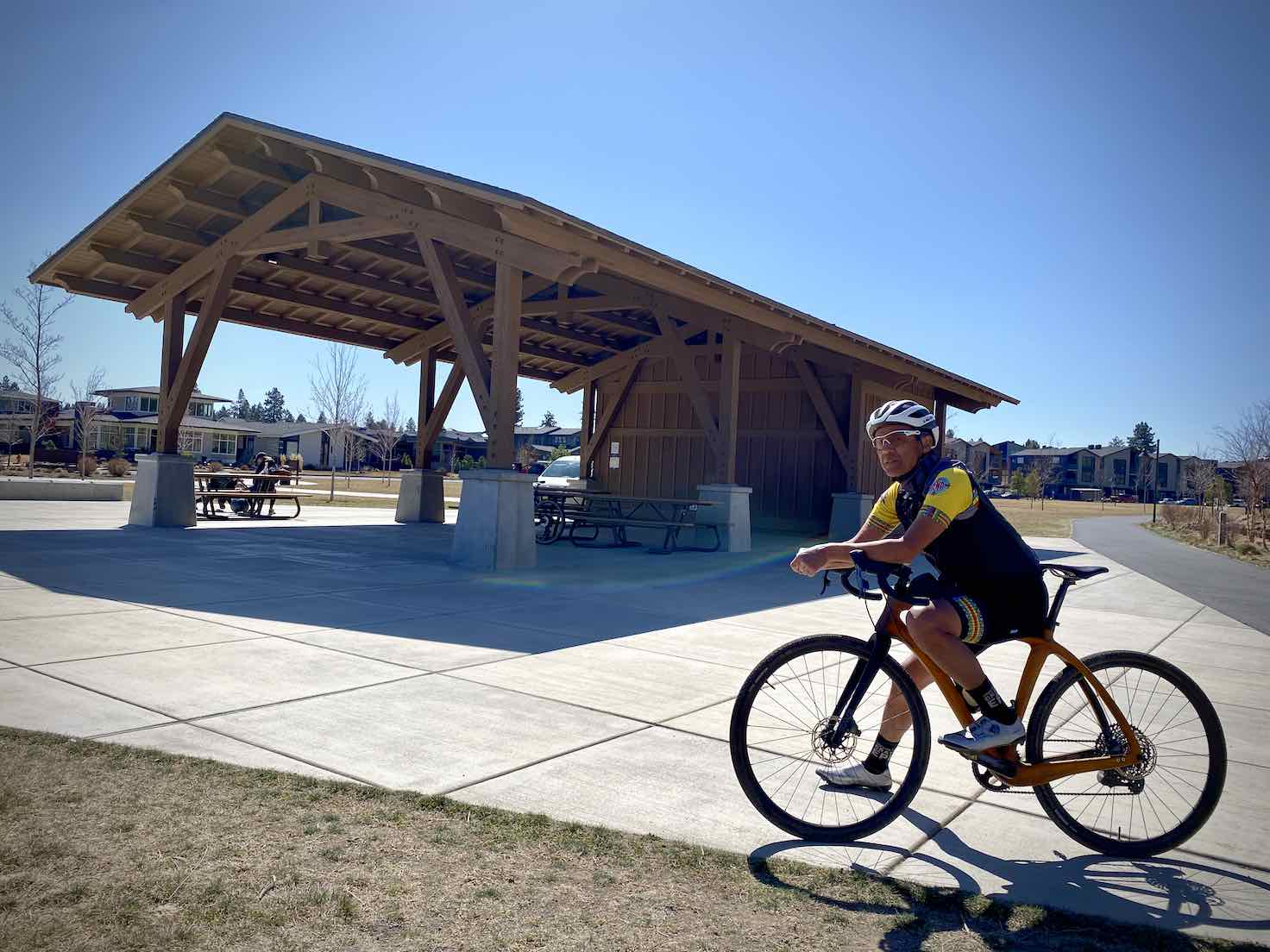 Bike rider at the Discovery Park Pavillion in Bend, Oregon.