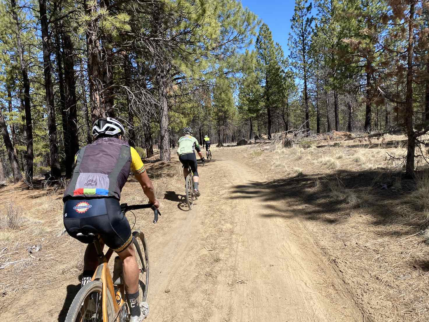 Gravel cyclists on double-track trails in Shevlin Park near Bend, OR.