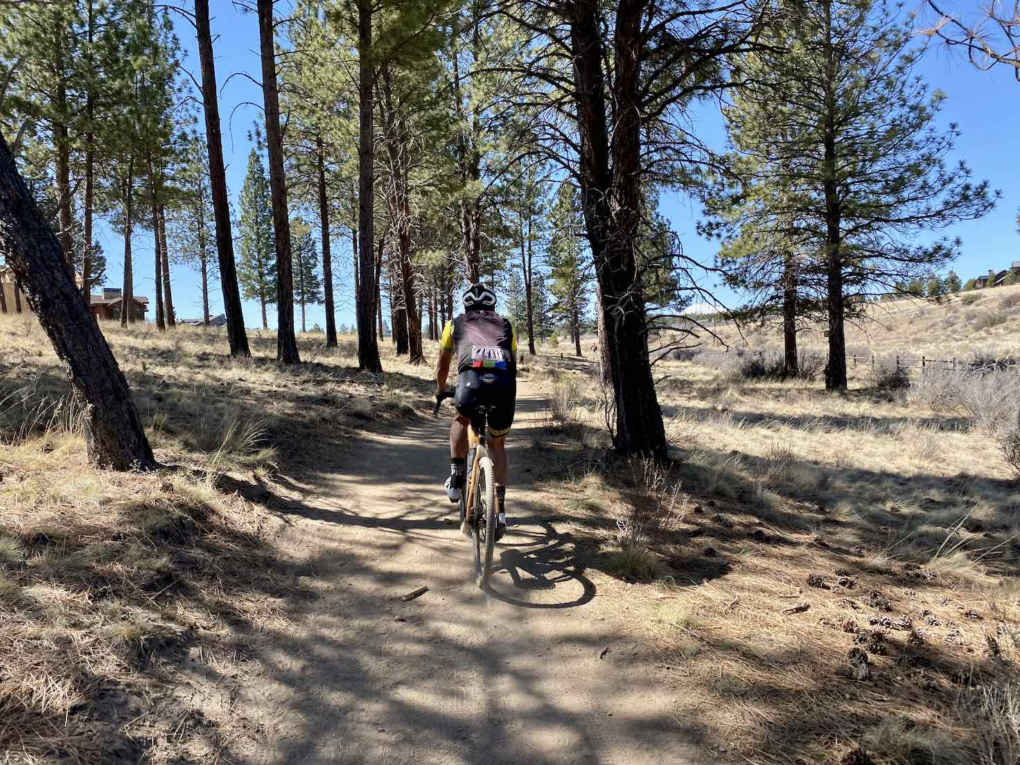 Gravel cyclists on the Cascade Highlands trail in Central Oregon.