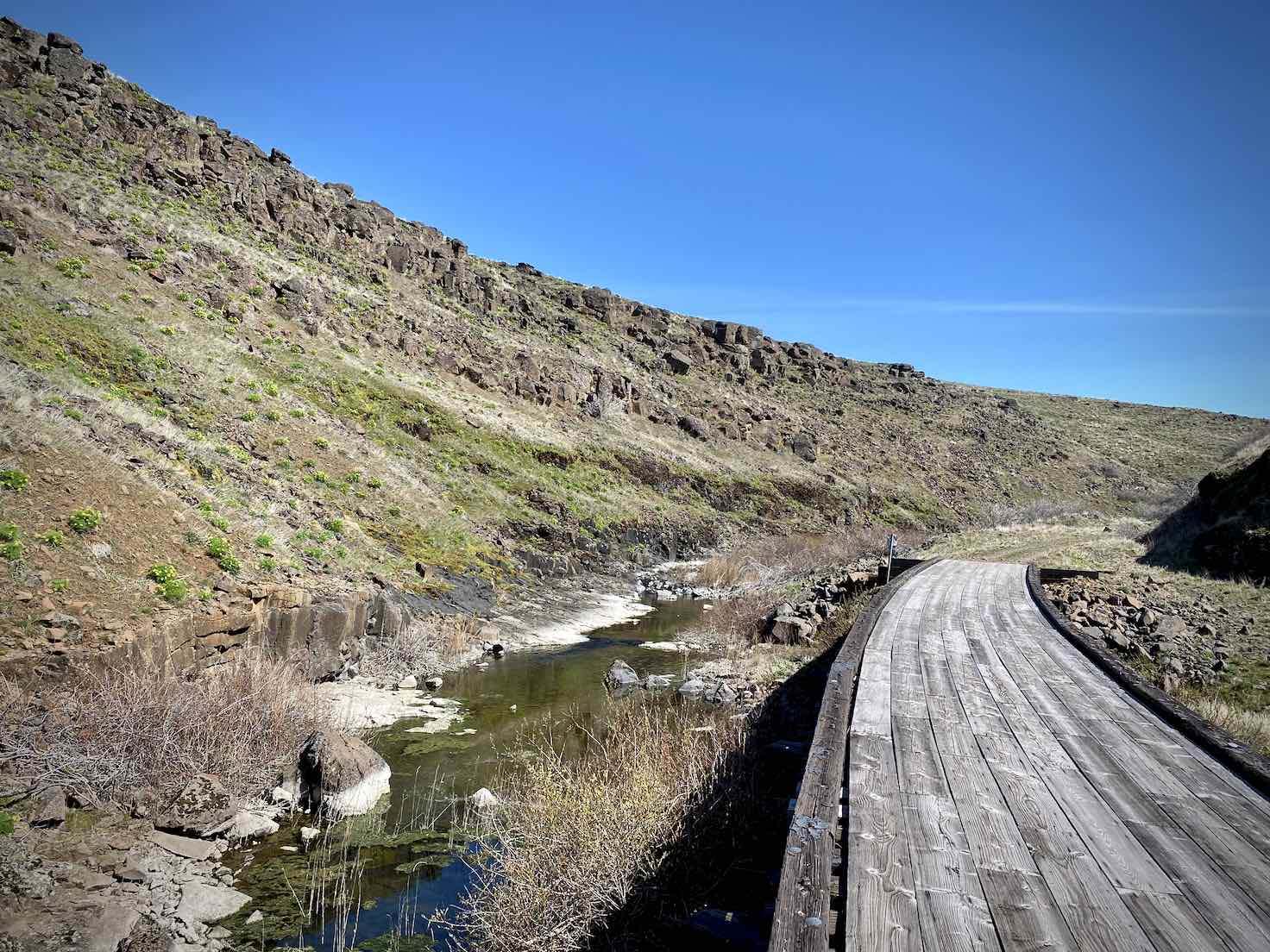 One of the filled in trestle bridges along the Swale Canyon trail near Goldendale, WA.